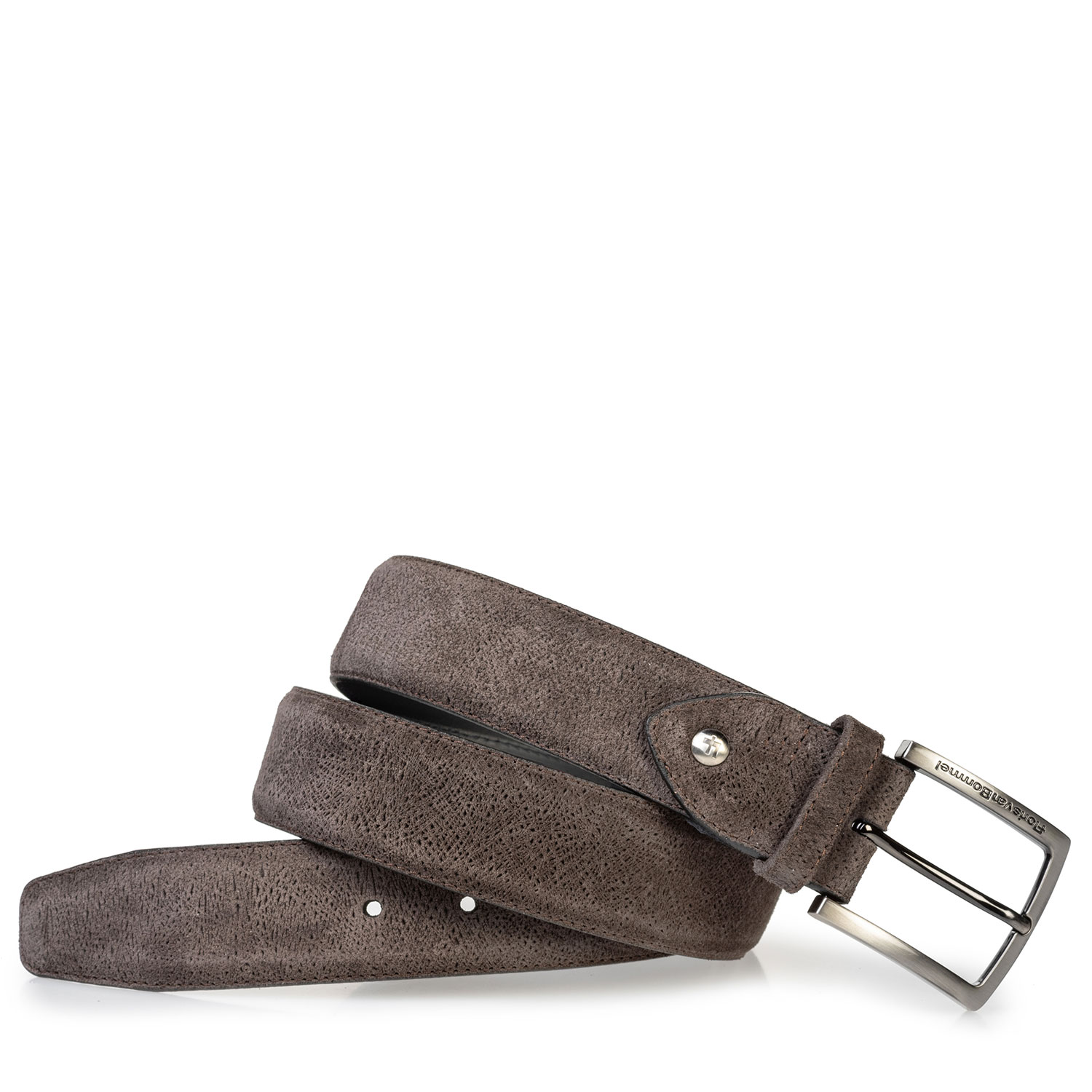75202/68 - Suede leather belt dark brown with print