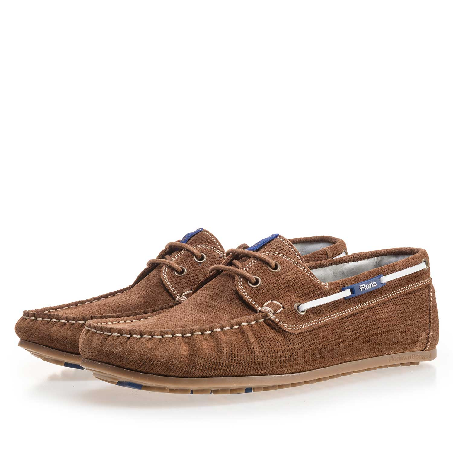 15035/02 - Brown, patterned suede leather boat shoe