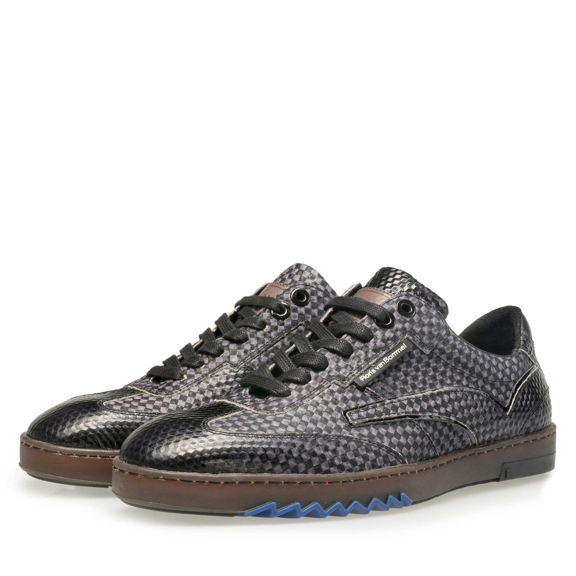 16074/23 - Floris van Bommel men's grey sneaker finished with a black print