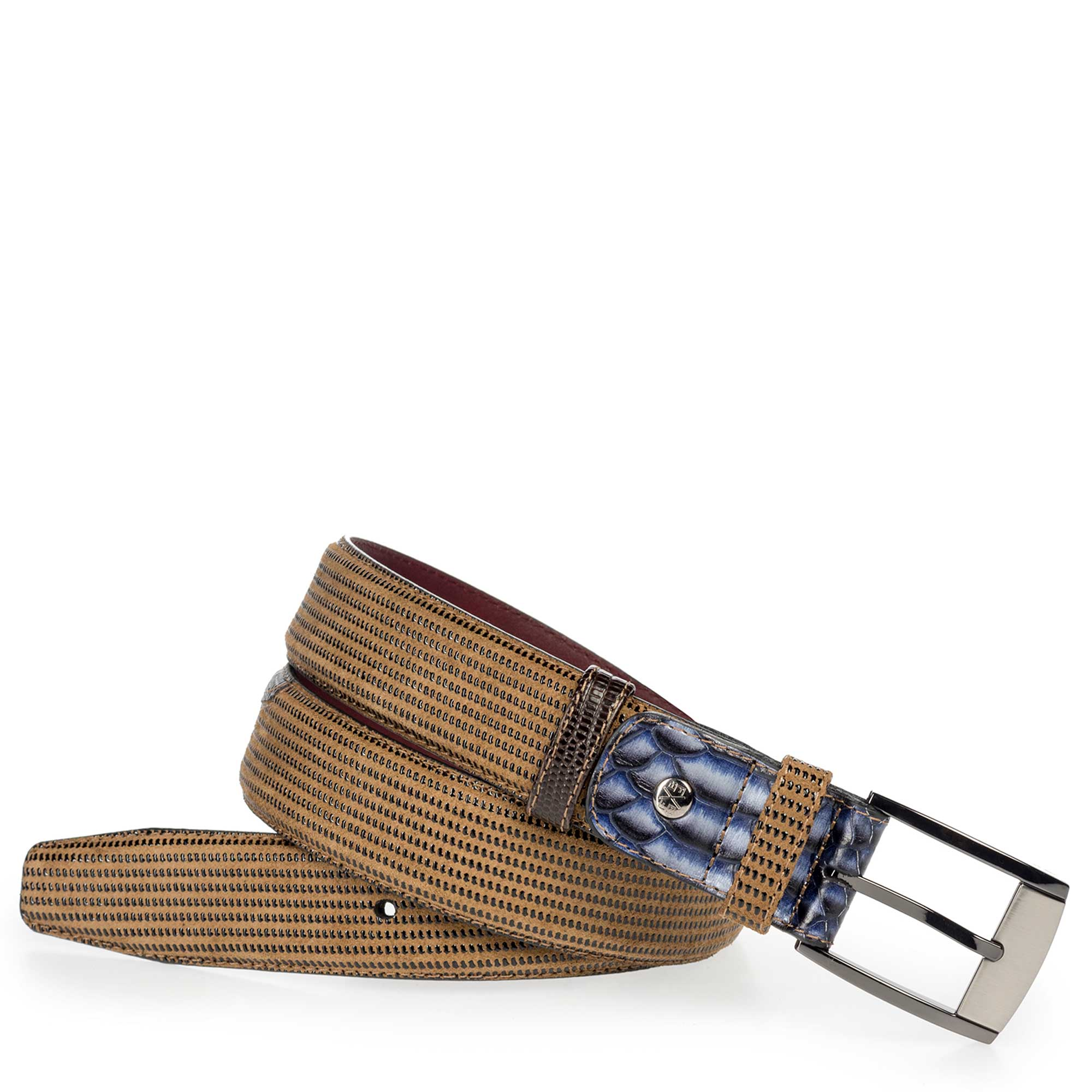 75176/01 - Camel-coloured suede leather belt with pattern