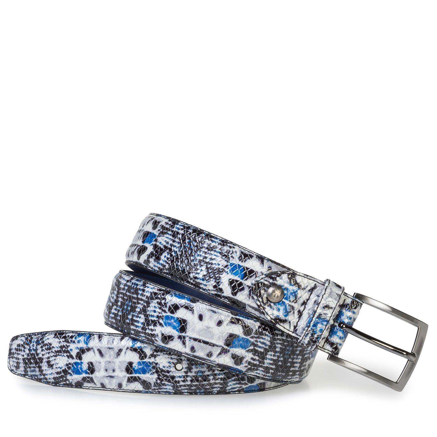 75201/59 - Blue patent leather belt with snake print