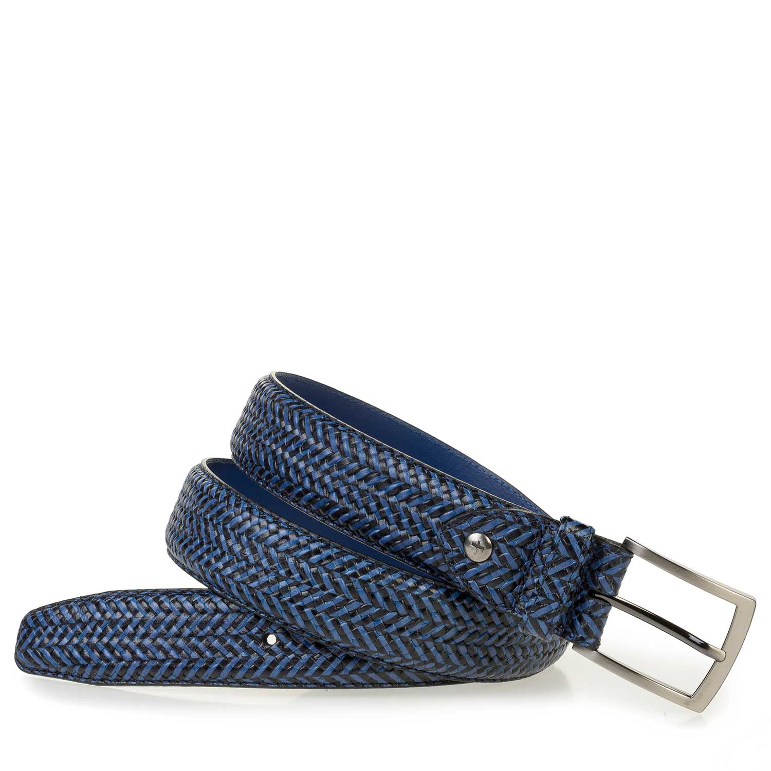 75200/52 - Blue calf leather belt with a herringbone pattern
