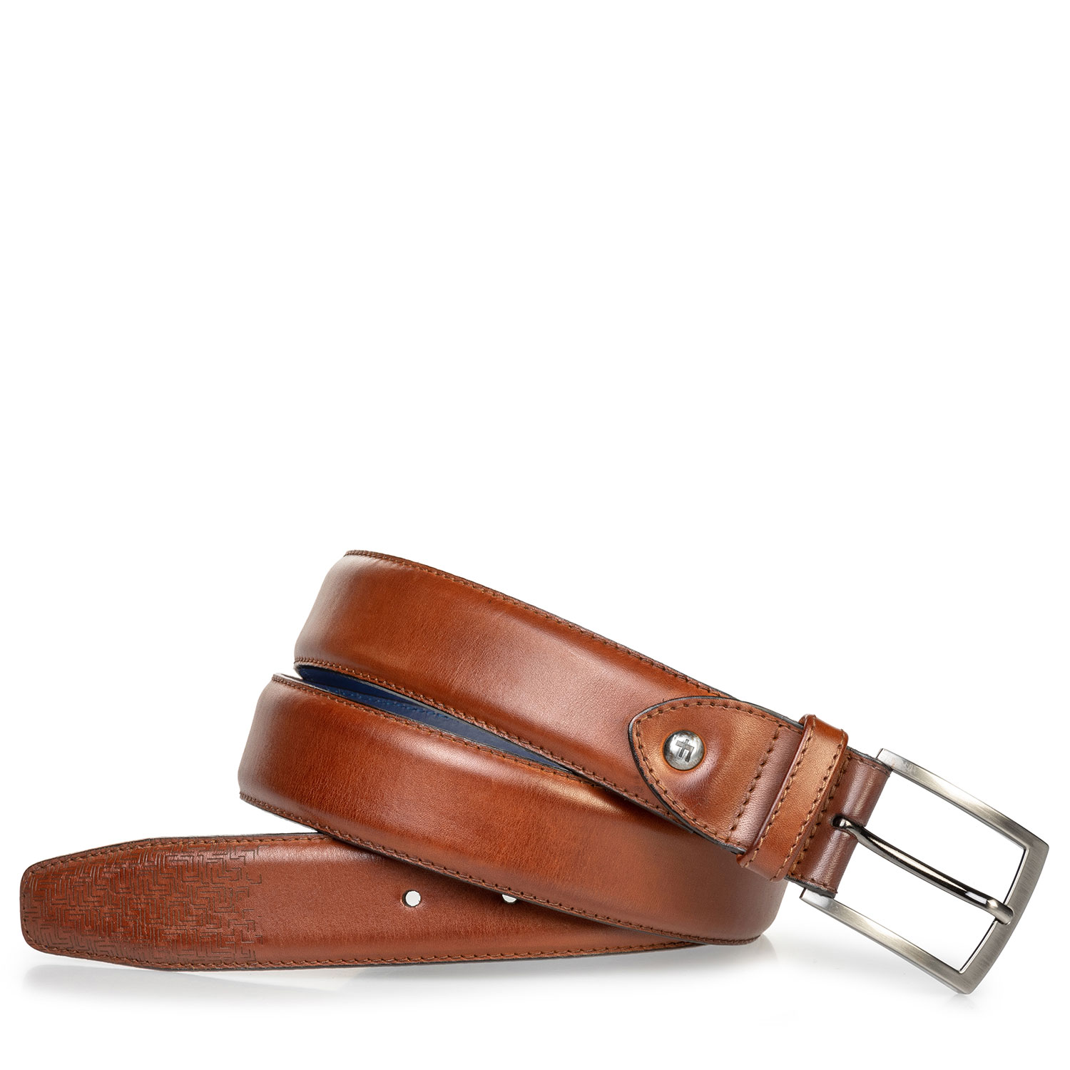 75218/00 - Leather belt cognac with laser-cut print