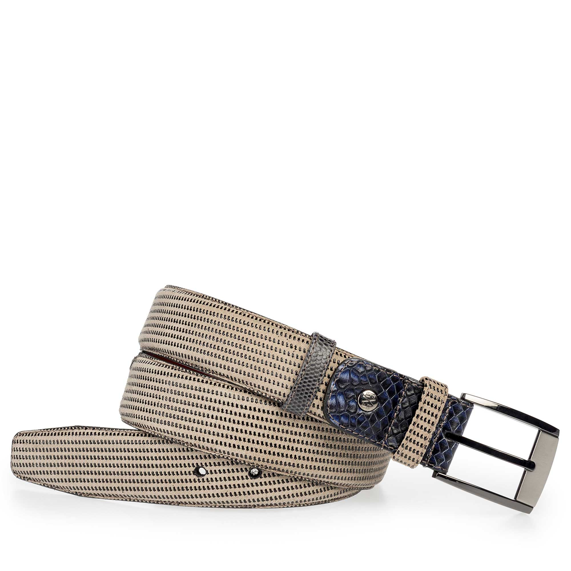 75176/03 - Sand-coloured suede leather belt with pattern