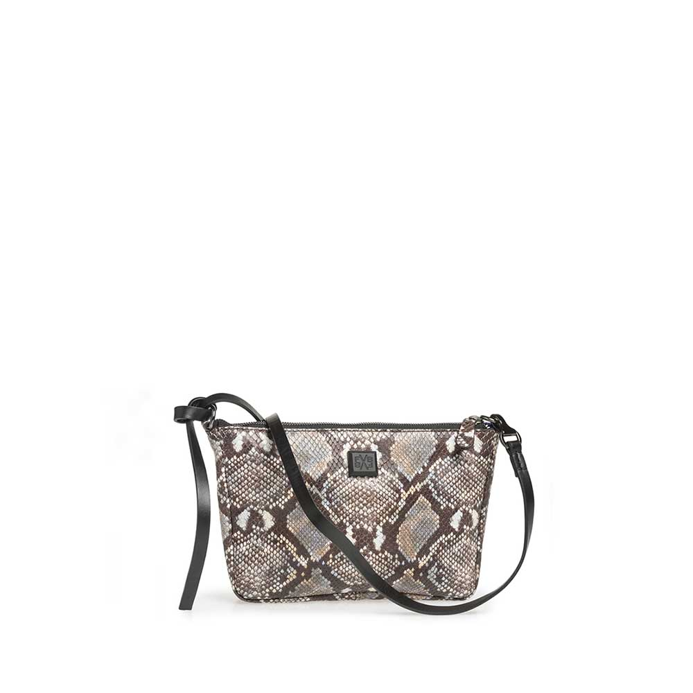 89019/05 - Brown and white leather bag with snake print