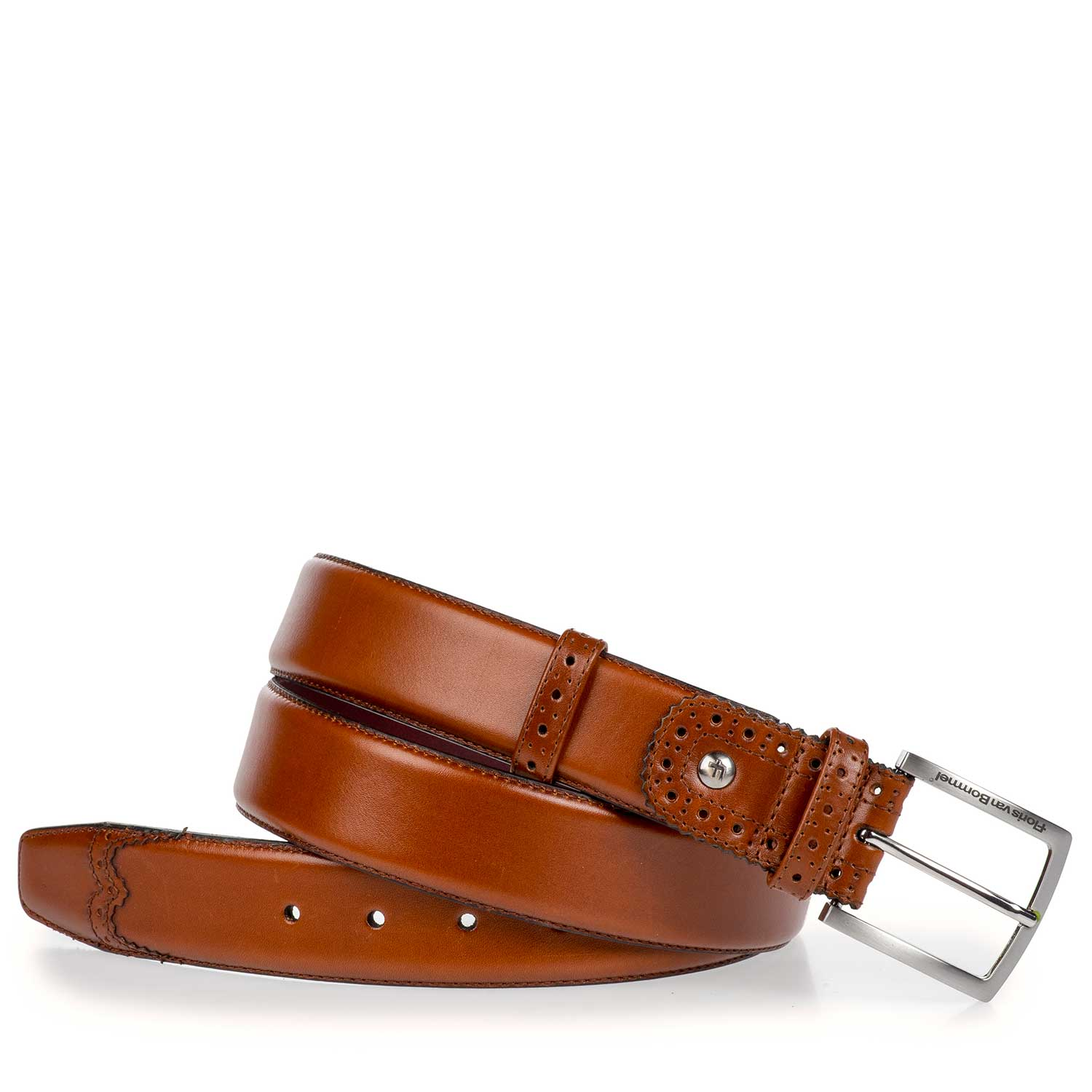 75171/11 - Dark cognac-coloured calf's leather belt