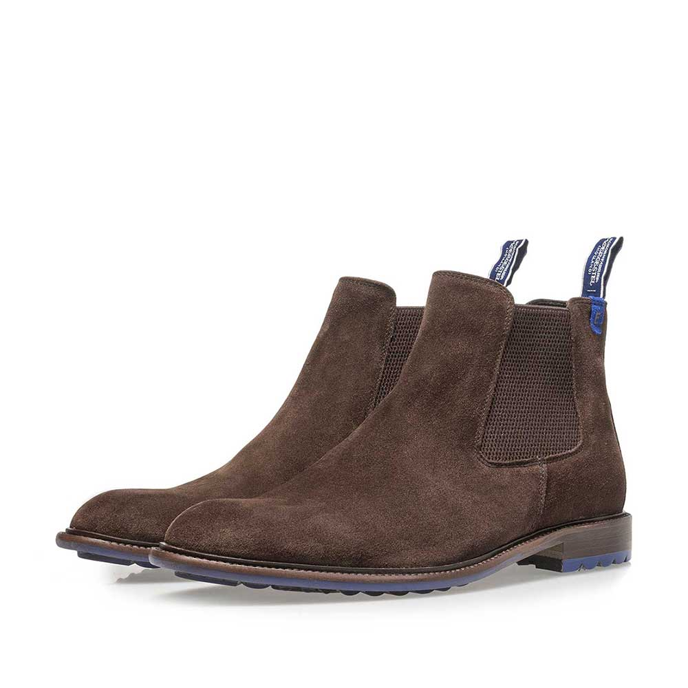 10902/07 - Dark brown calf suede Chelsea boot