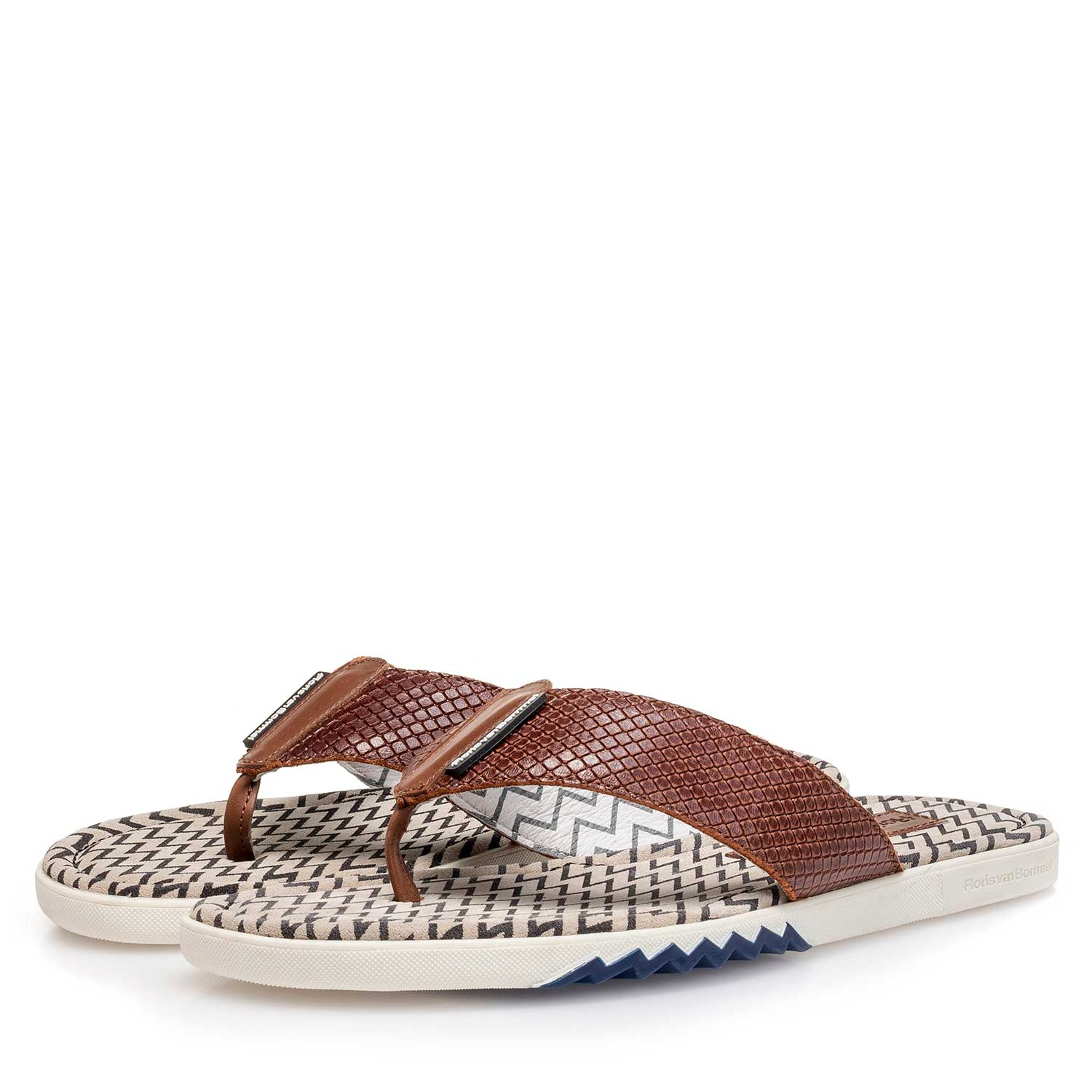 20201/01 - Cognac-coloured printed leather thong slipper