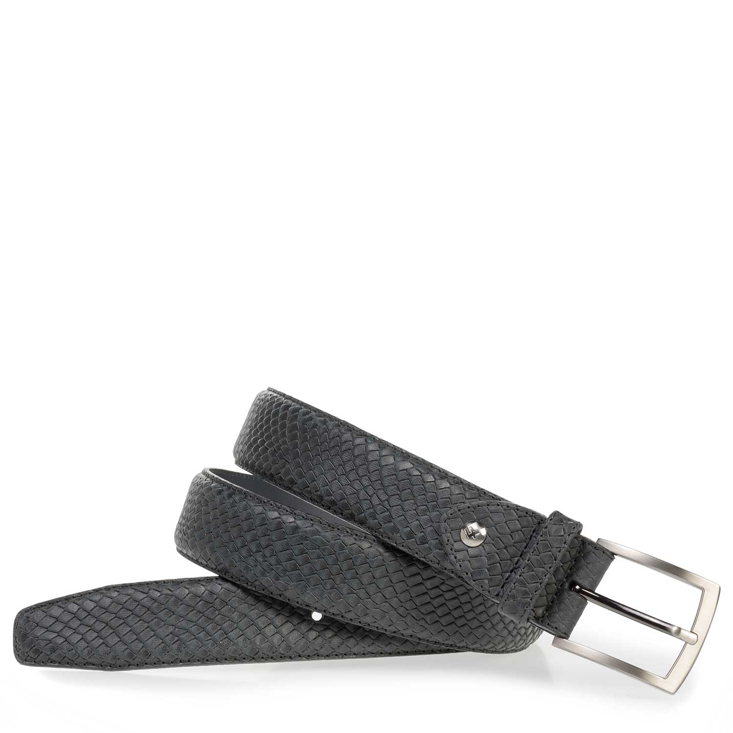 75201/48 - Black leather belt with croco print