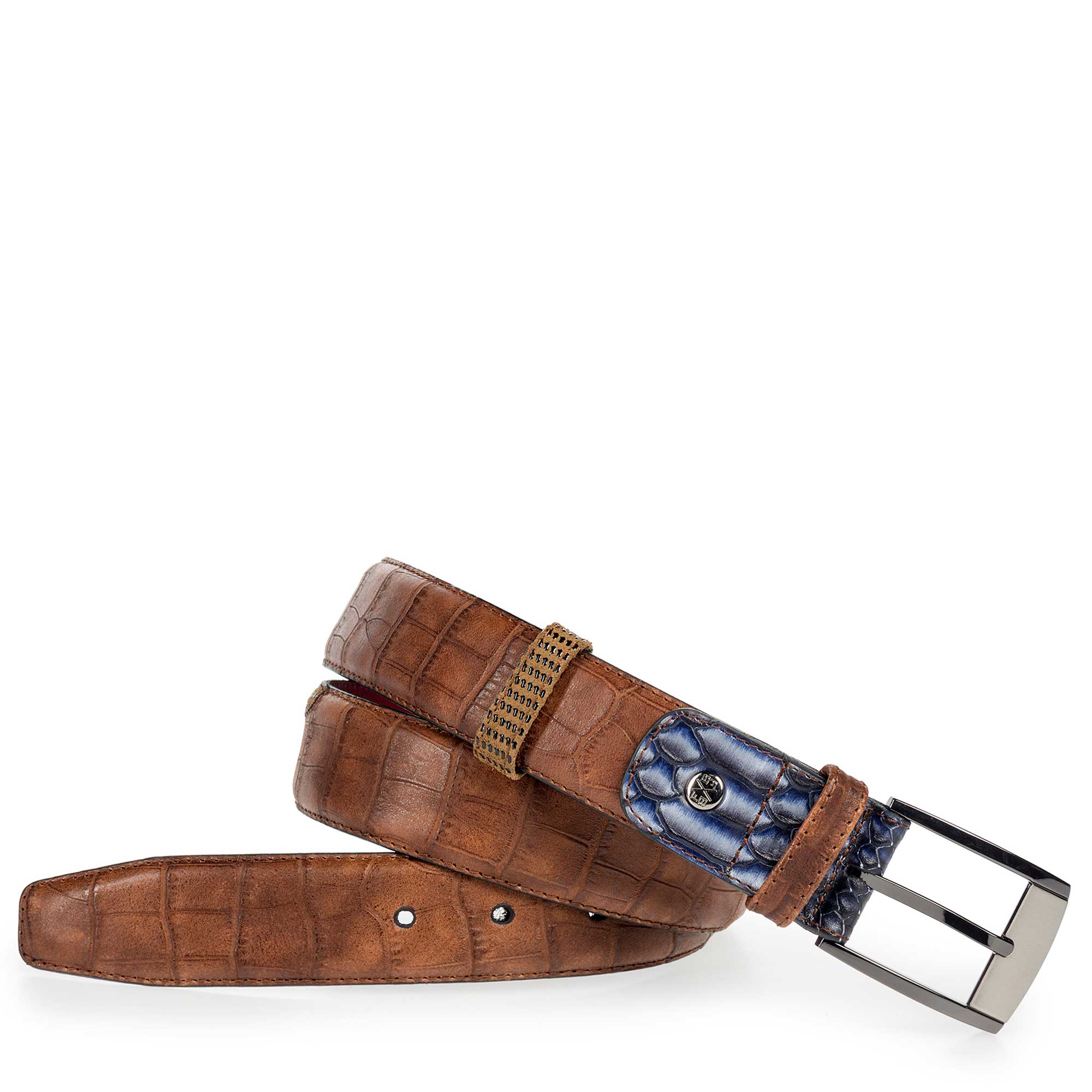 75176/08 - Cognac-coloured leather belt with a croco print