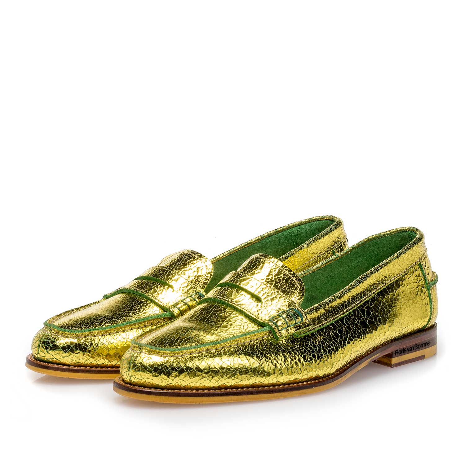 85409/09 - Yellow metallic leather loafer with craquelé effect