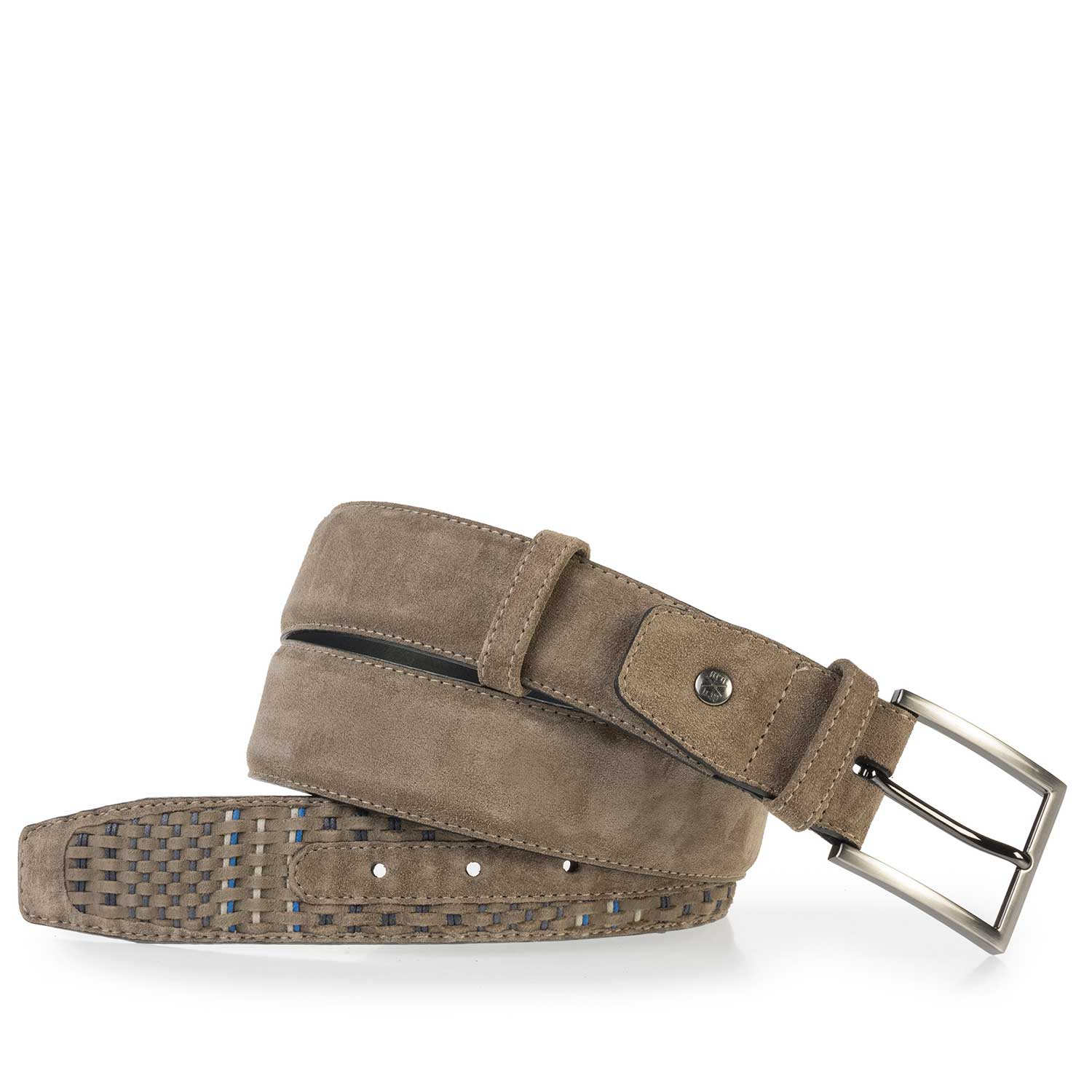 75159/11 - Taupe-coloured belt made of braided suede leather