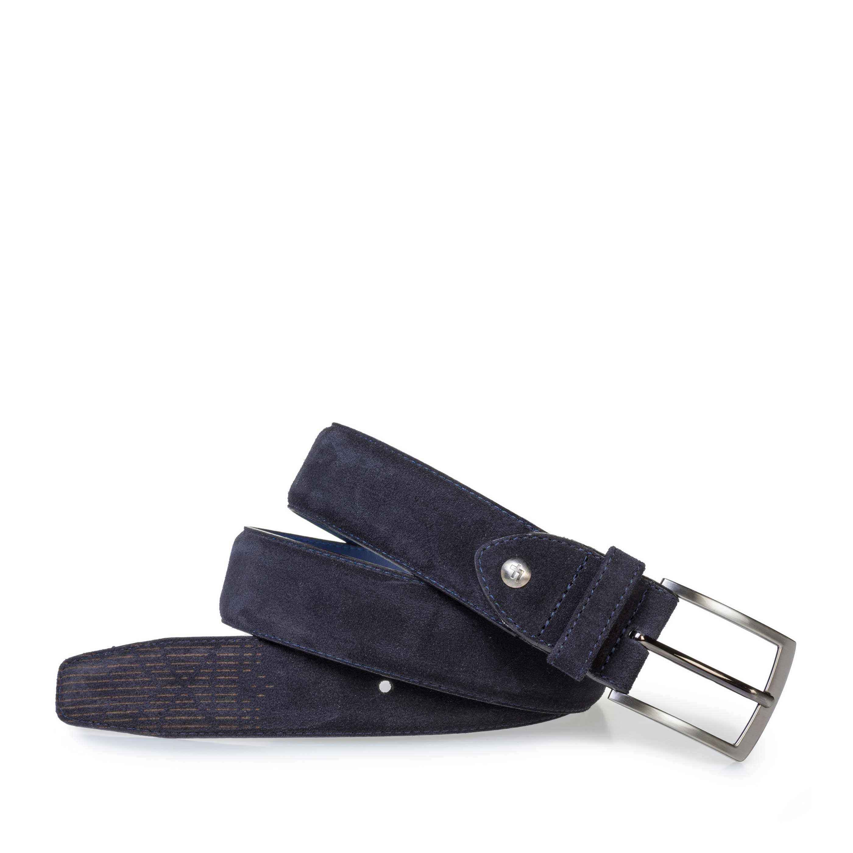 75214/04 - Dark blue suede leather belt with laser print