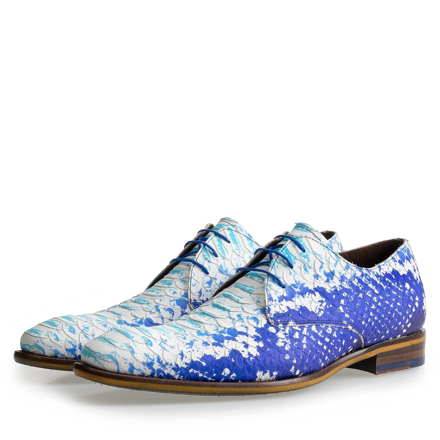 14109/00 - Blue leather lace-shoe with a snake print