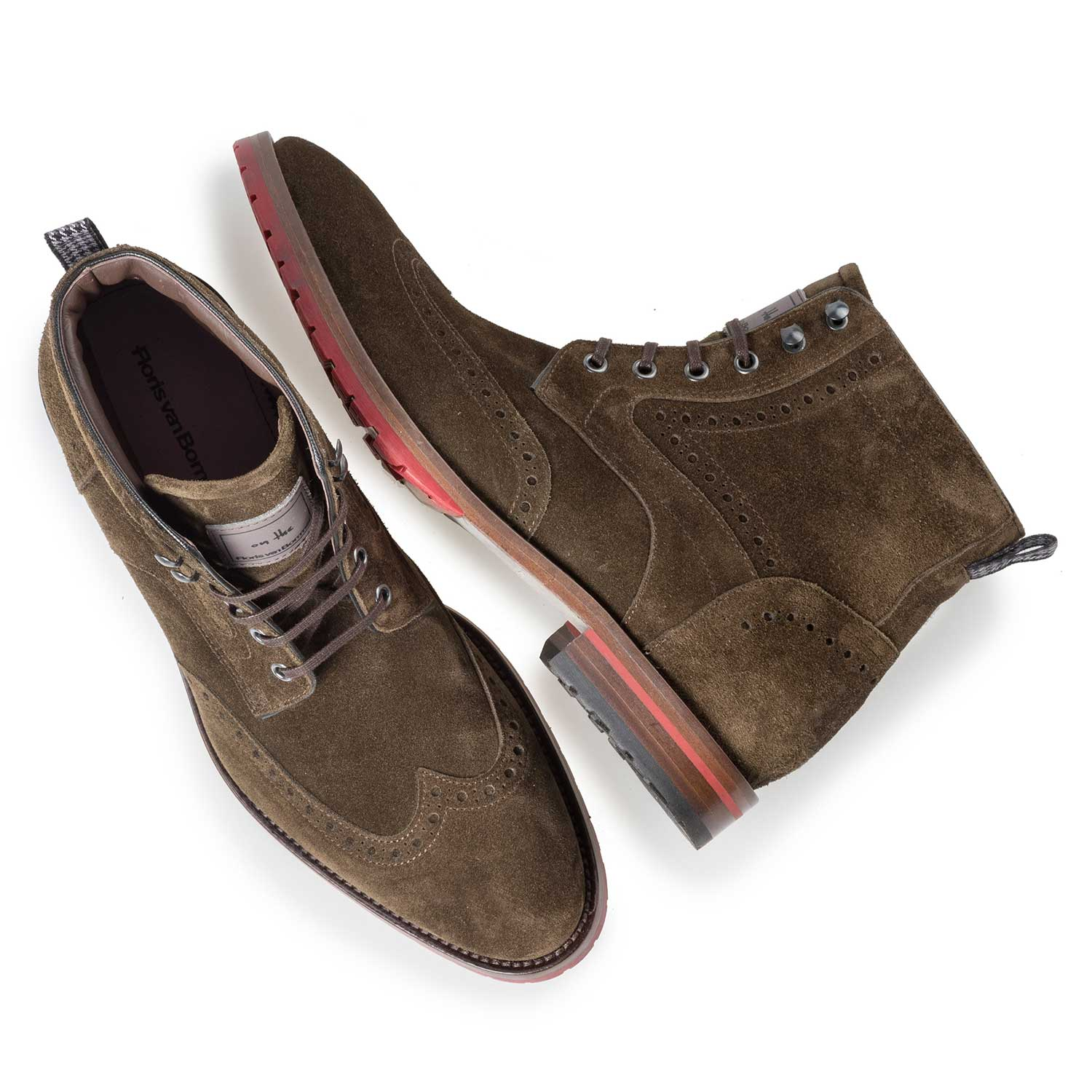 10295/05 - Brown/olive green calf suede leather brogue lace boot