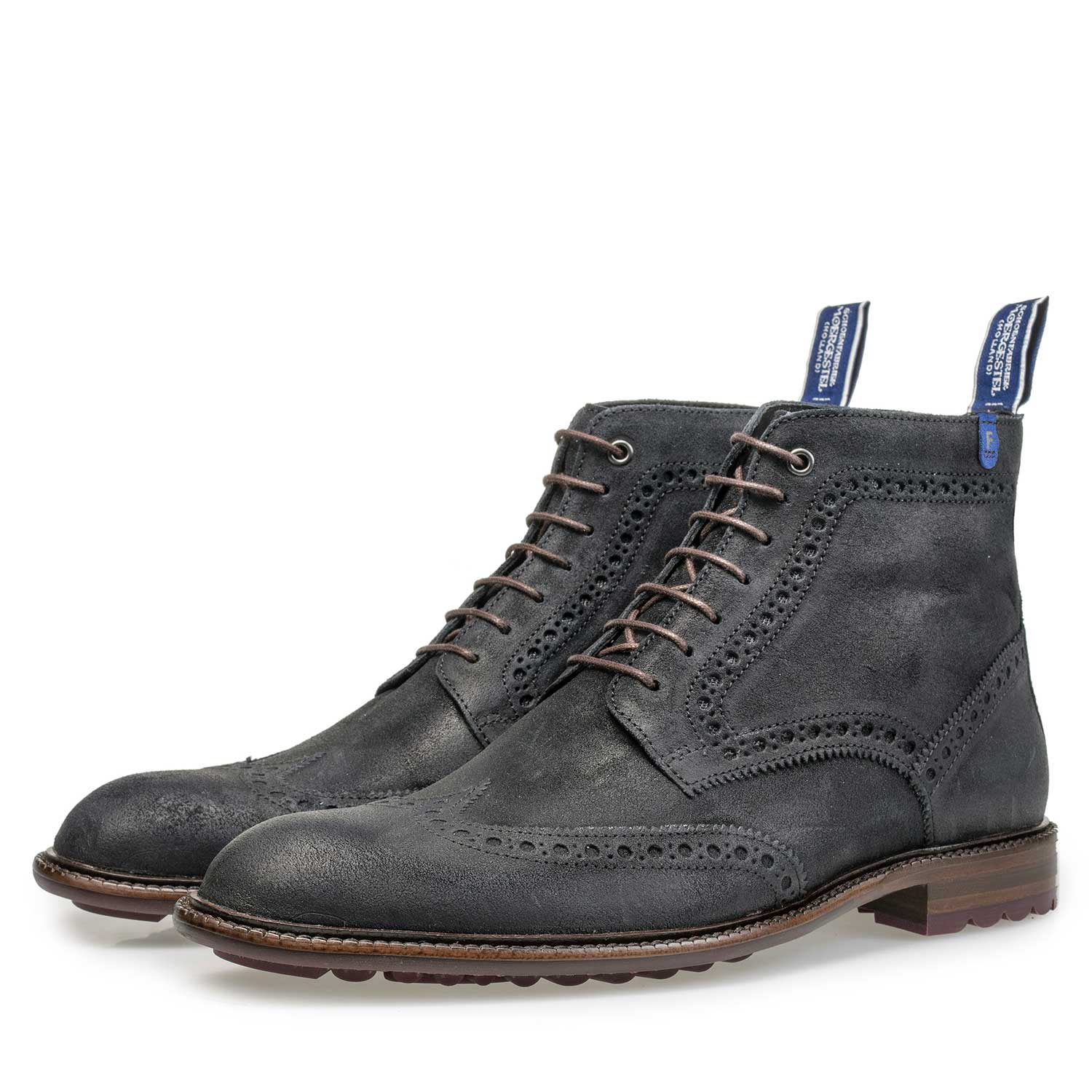 10506/03 - Blue suede leather brogue lace boot