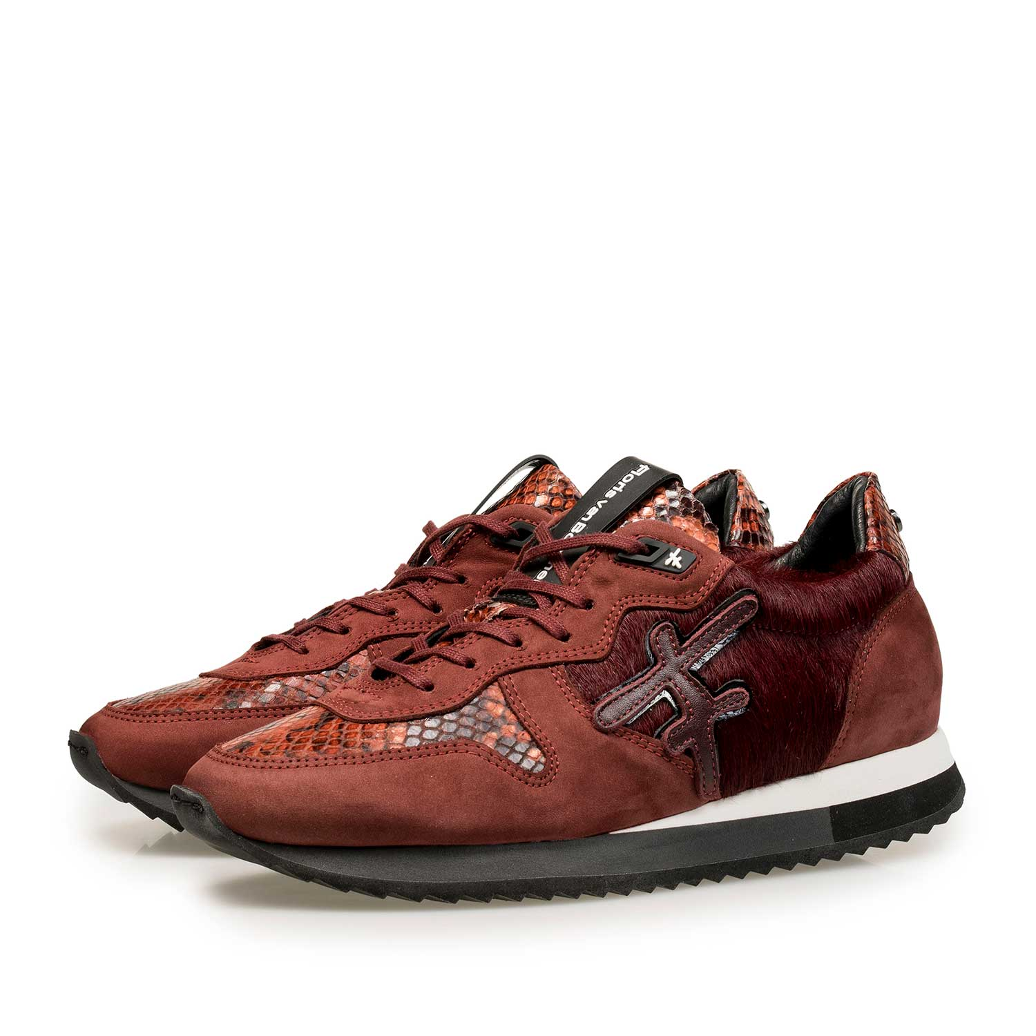 85256/00 - Bordeaux red leather sneaker with pony hair