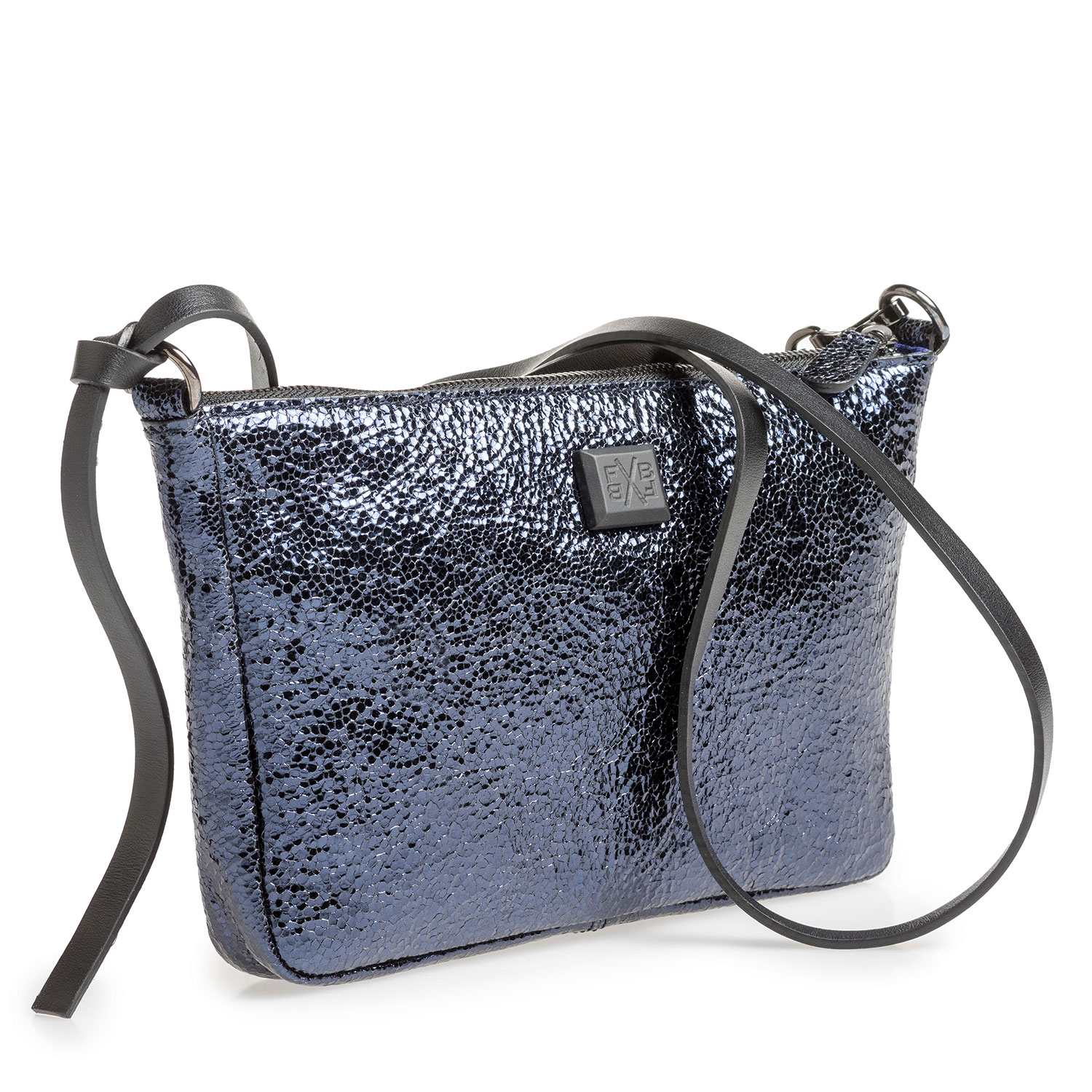 89019/11 - Dark blue leather bag with black print