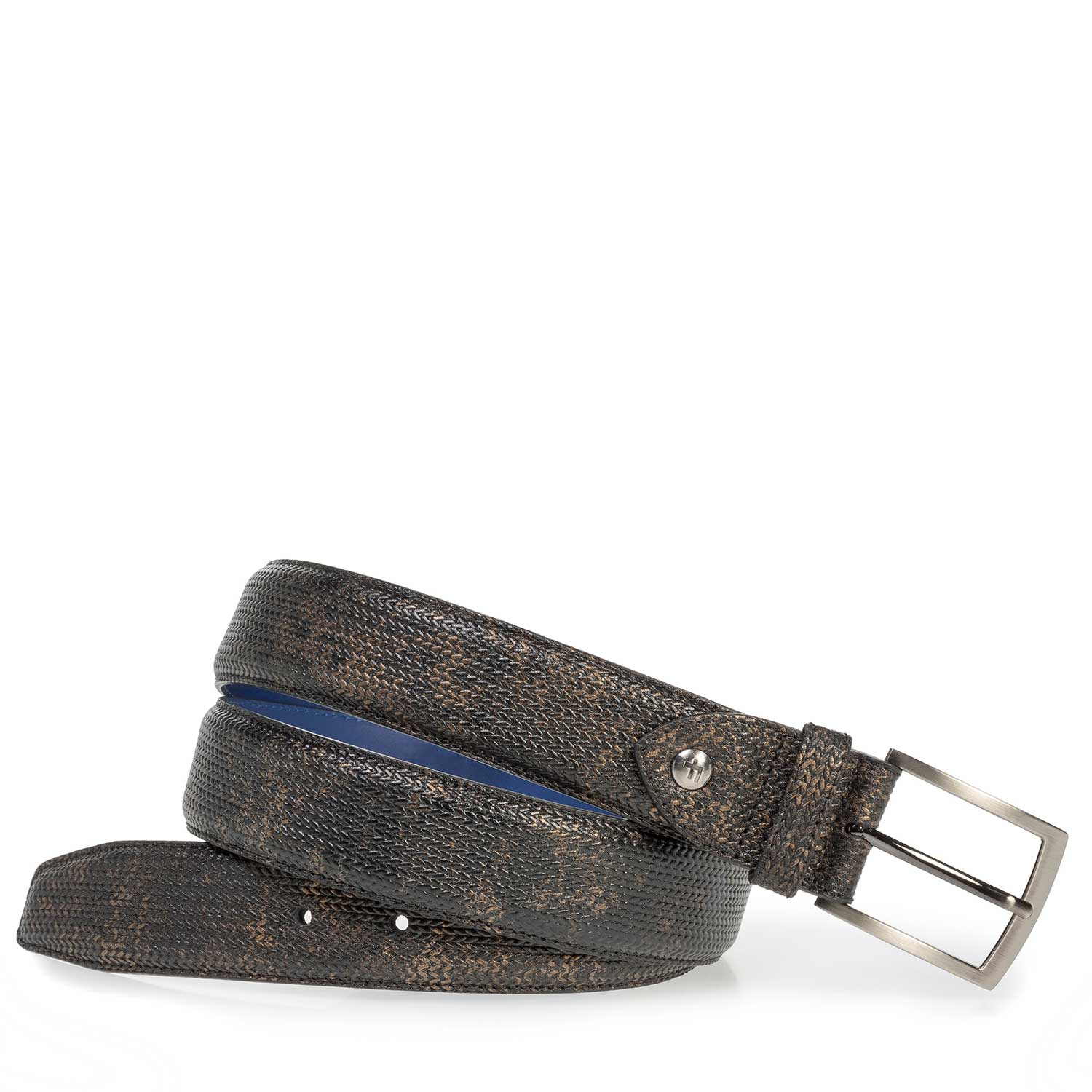 75201/29 - Bronze-coloured leather belt with metallic print