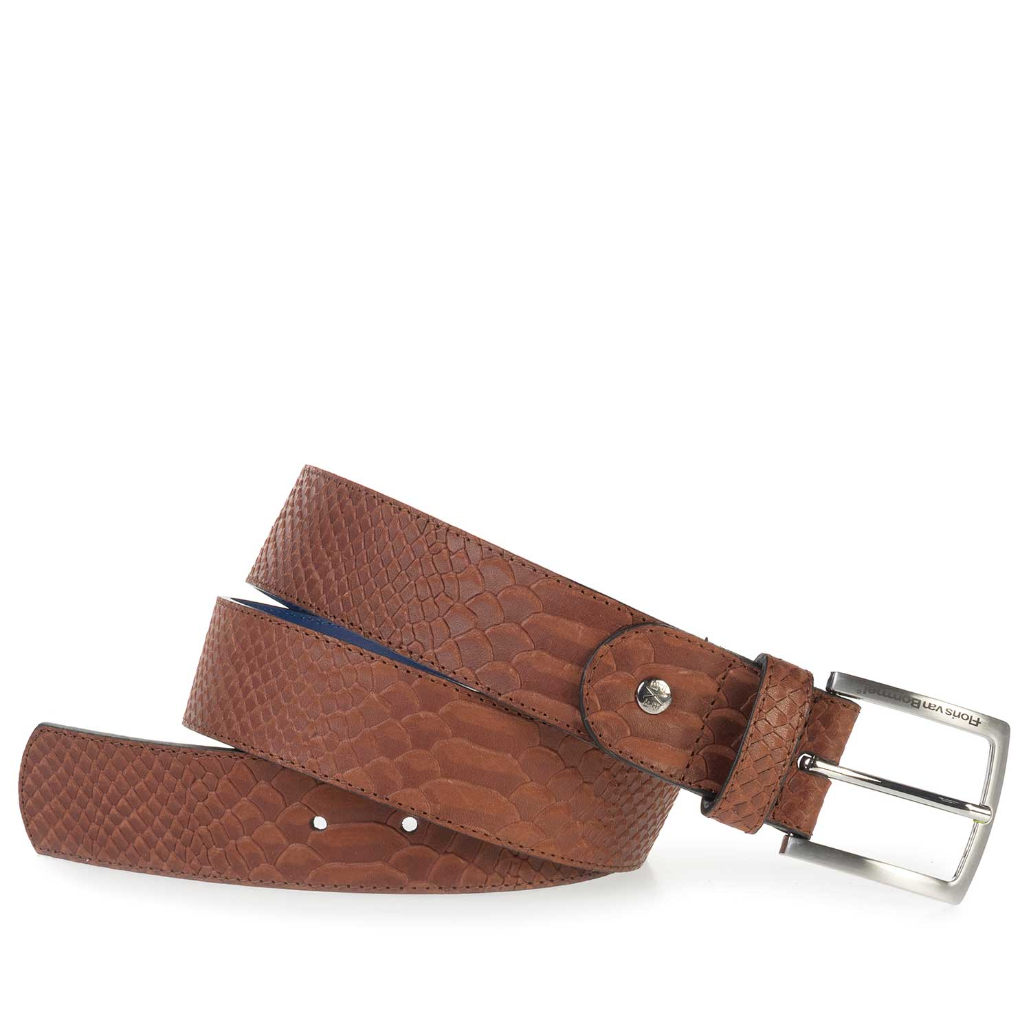 75184/06 - Cognac- coloured leather belt finished with a snake print