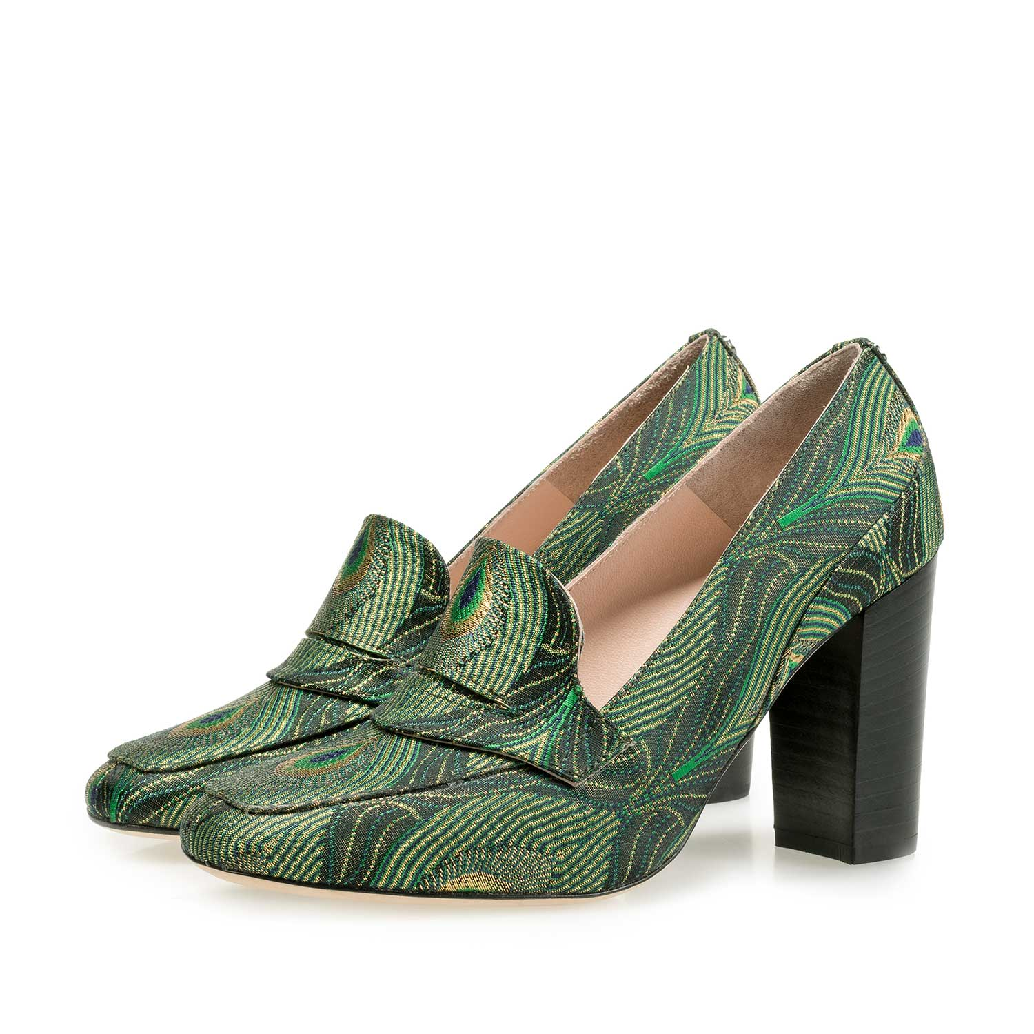 85505/05 - High heels with green peacock print