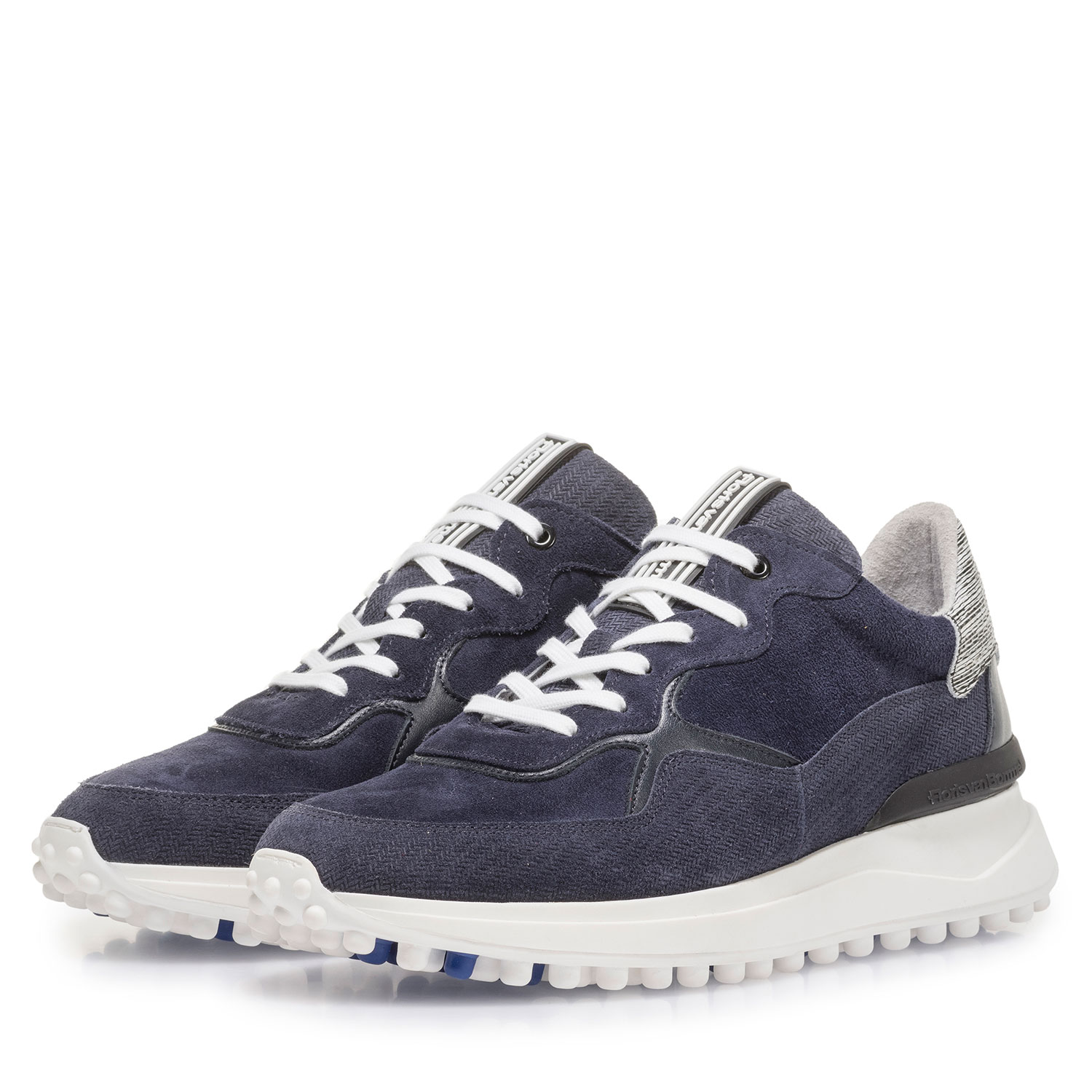 16301/15 - Blue suede leather sneaker with print