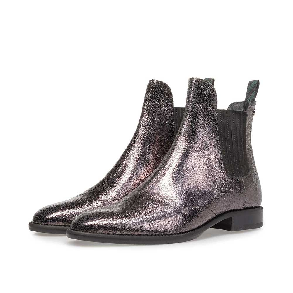 85601/04 - Dark silver-coloured leather Chelsea boot with metallic print