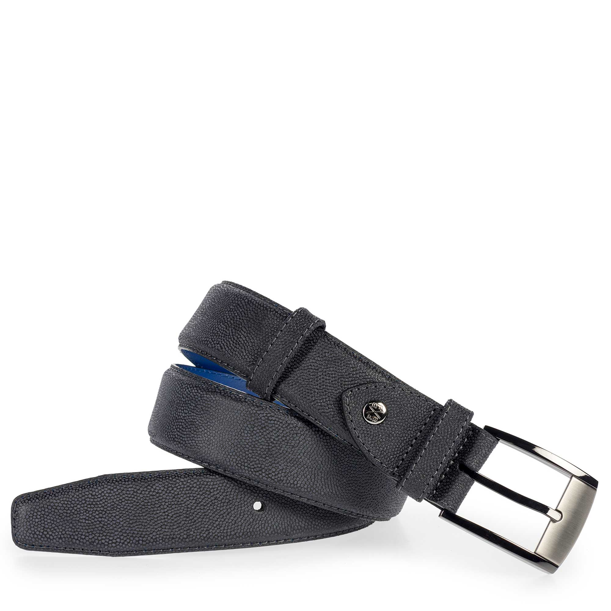 75180/06 - Darkblue suede leather belt with pattern