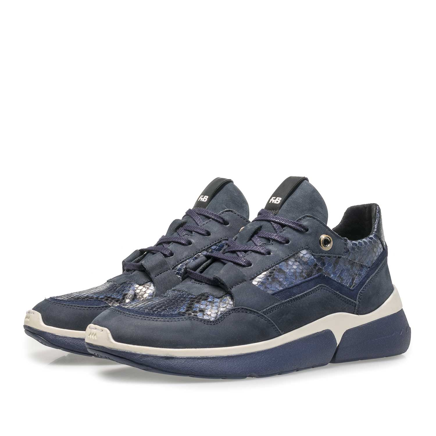 85291/03 - Blue suede leather sneaker with snake print