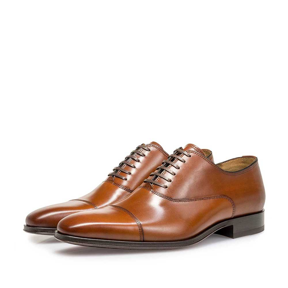 16199/01 - Cognac-coloured calf leather lace shoe