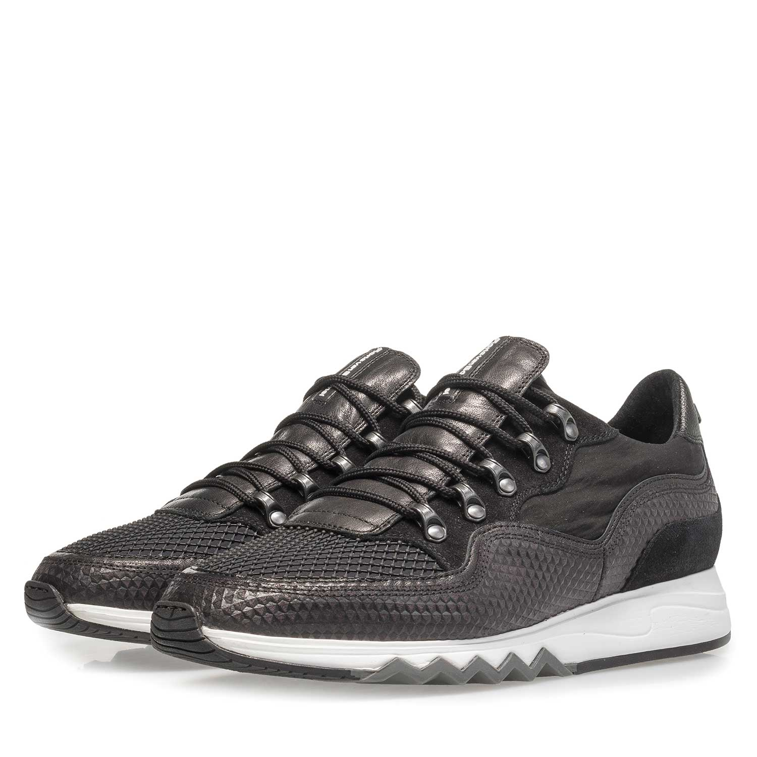 16393/02 - Dark grey nubuck leather lace shoe