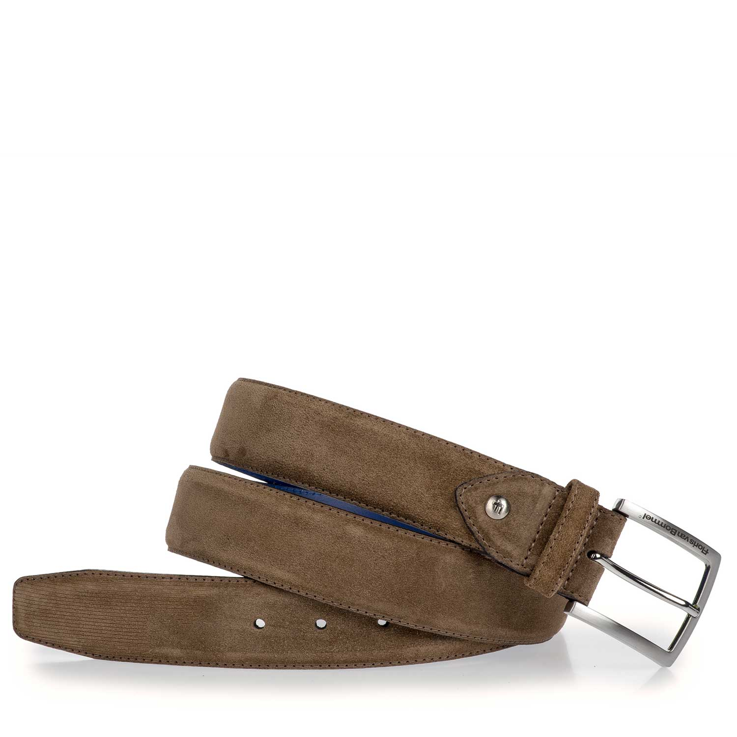 75186/04 - Taupe-coloured suede leather belt with laser print