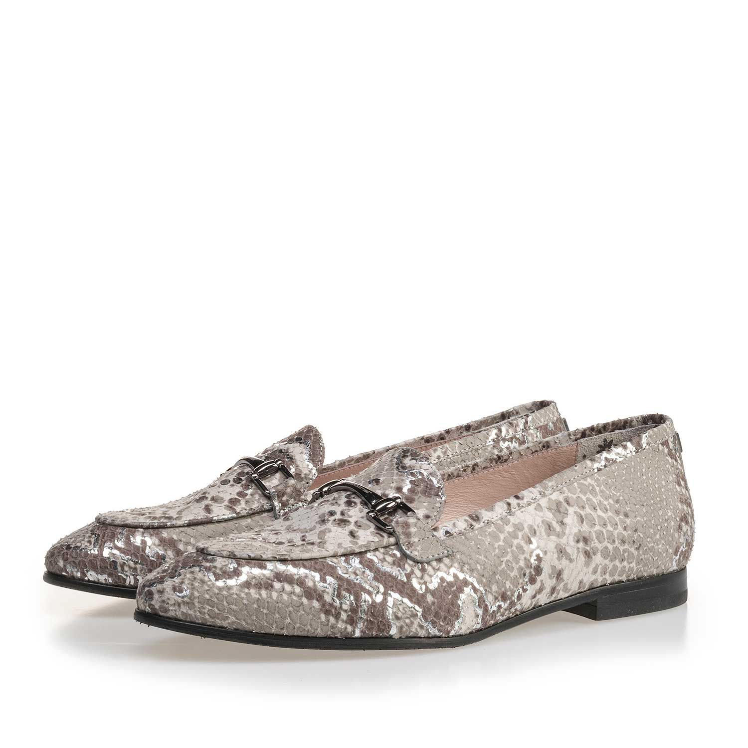 85231/01 - Taupe-coloured leather loafer with snake print