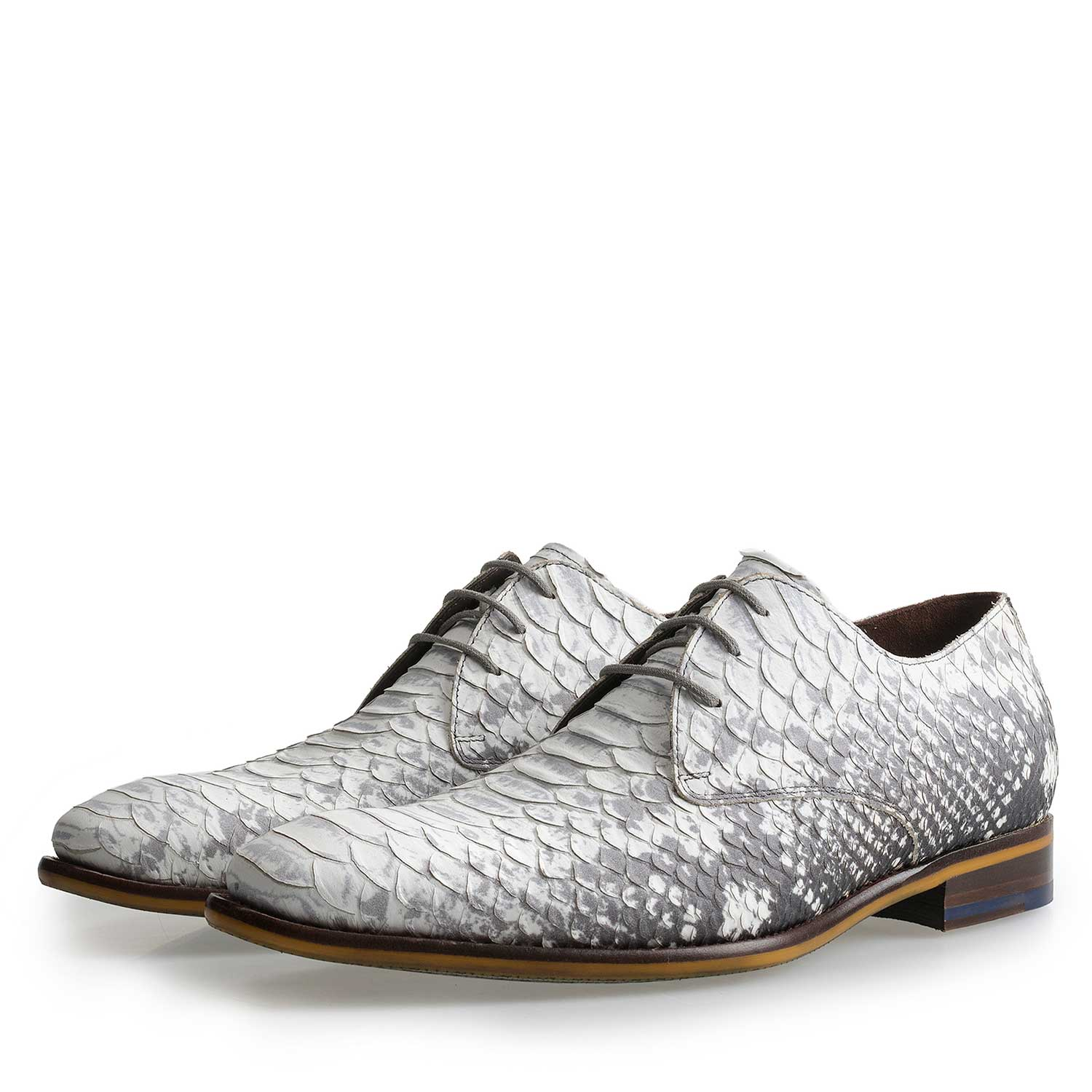 14109/02 - Grey leather lace shoe with snake print