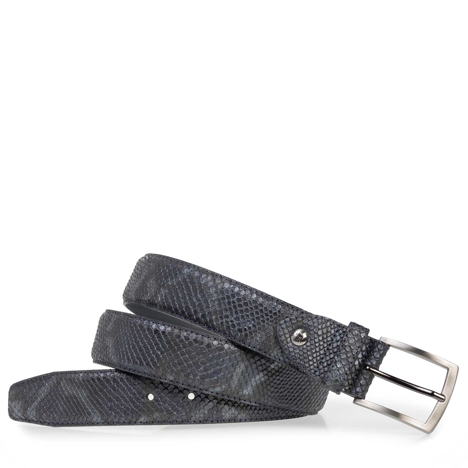 75201/57 - Blue leather belt with croco print