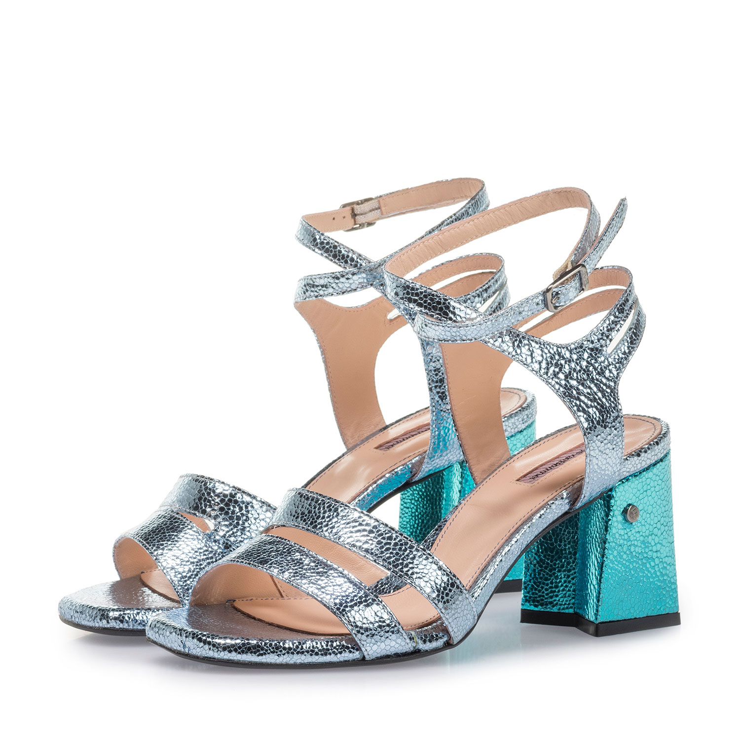 85943/01 - High-heeled sandals with light blue metallic print