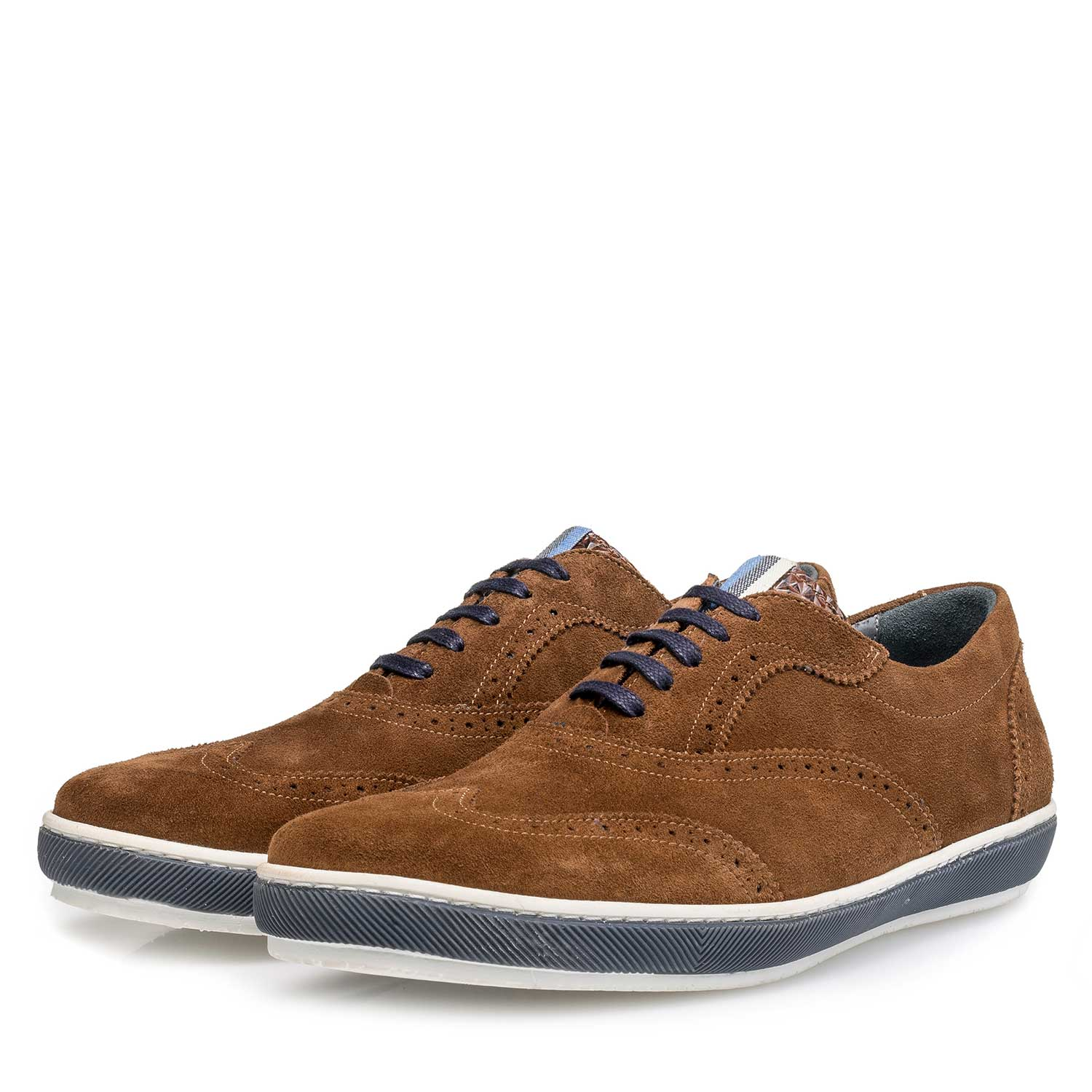 19036/44 - Brown suede leather brogue shoe