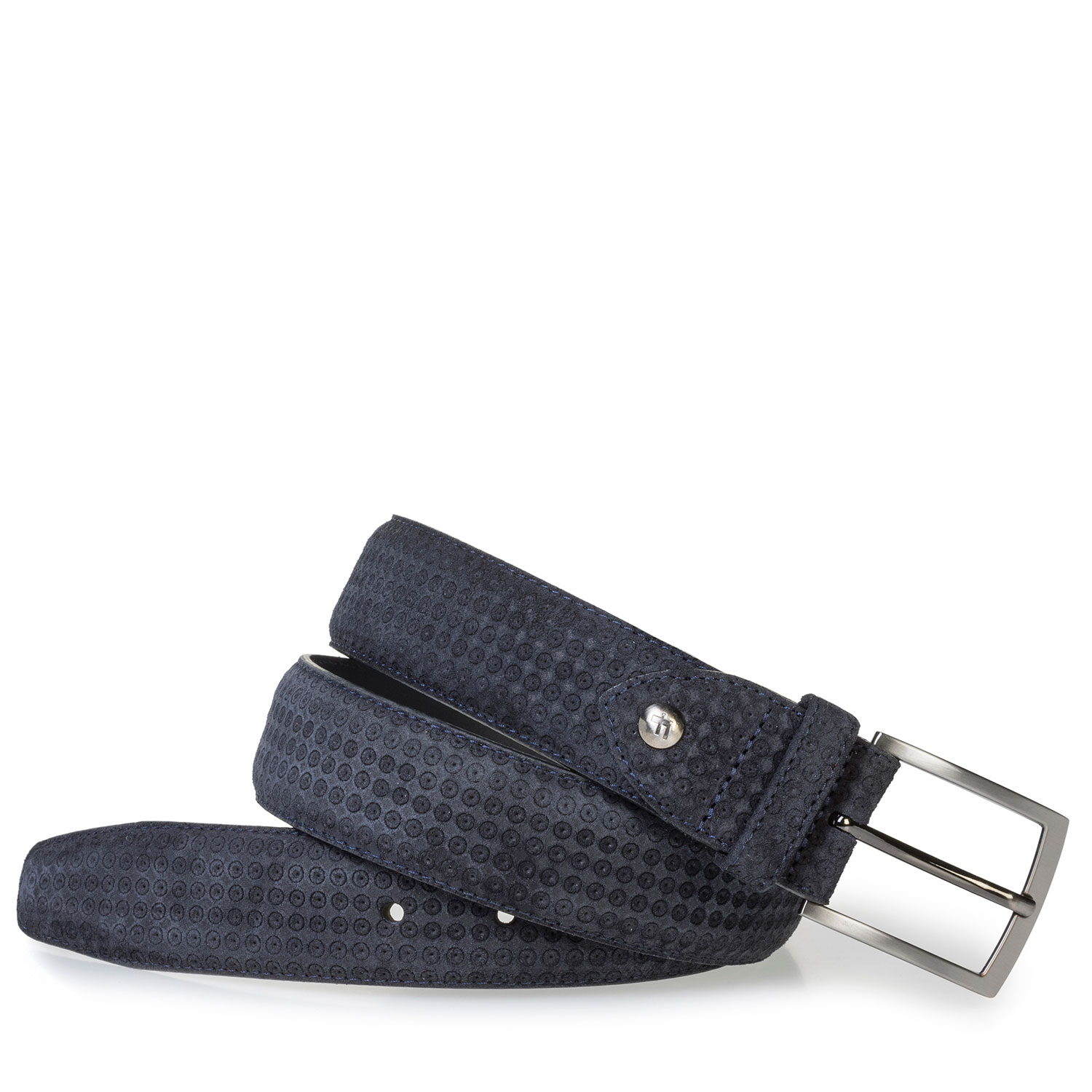 75200/77 - Blue suede leather belt with print