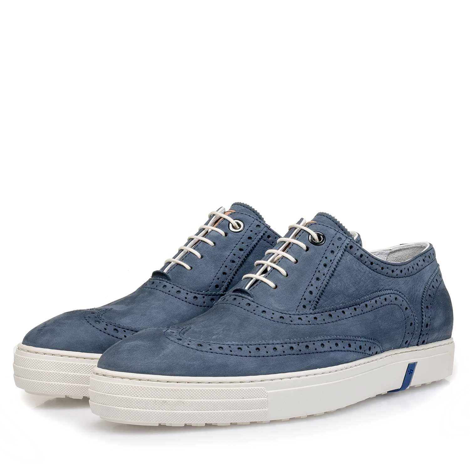 19073/06 - Blue nubuck leather brogue shoe