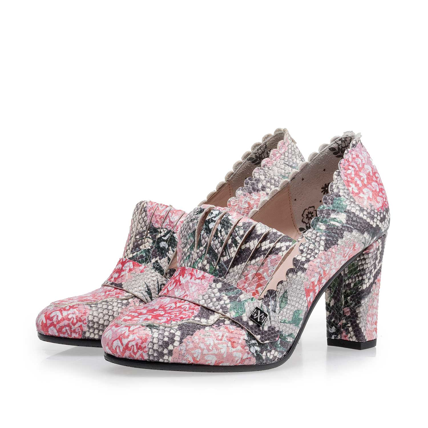 85190/05 - Multi-coloured leather pumps with all-over print