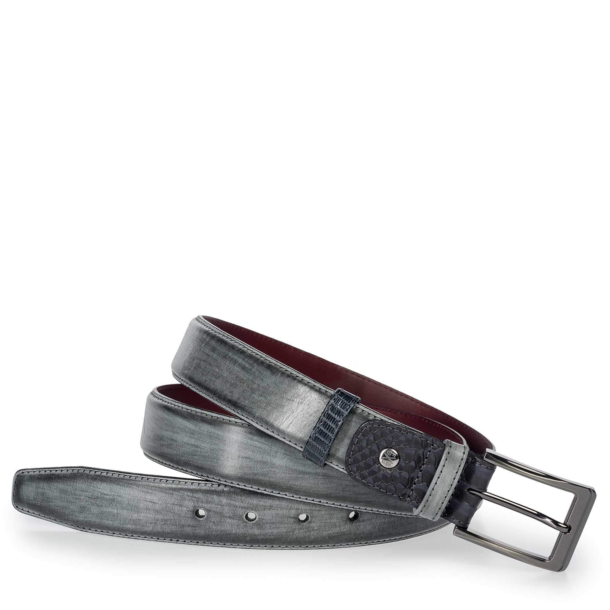 75160/01 - Floris van Bommel anthracite grey leather men's belt