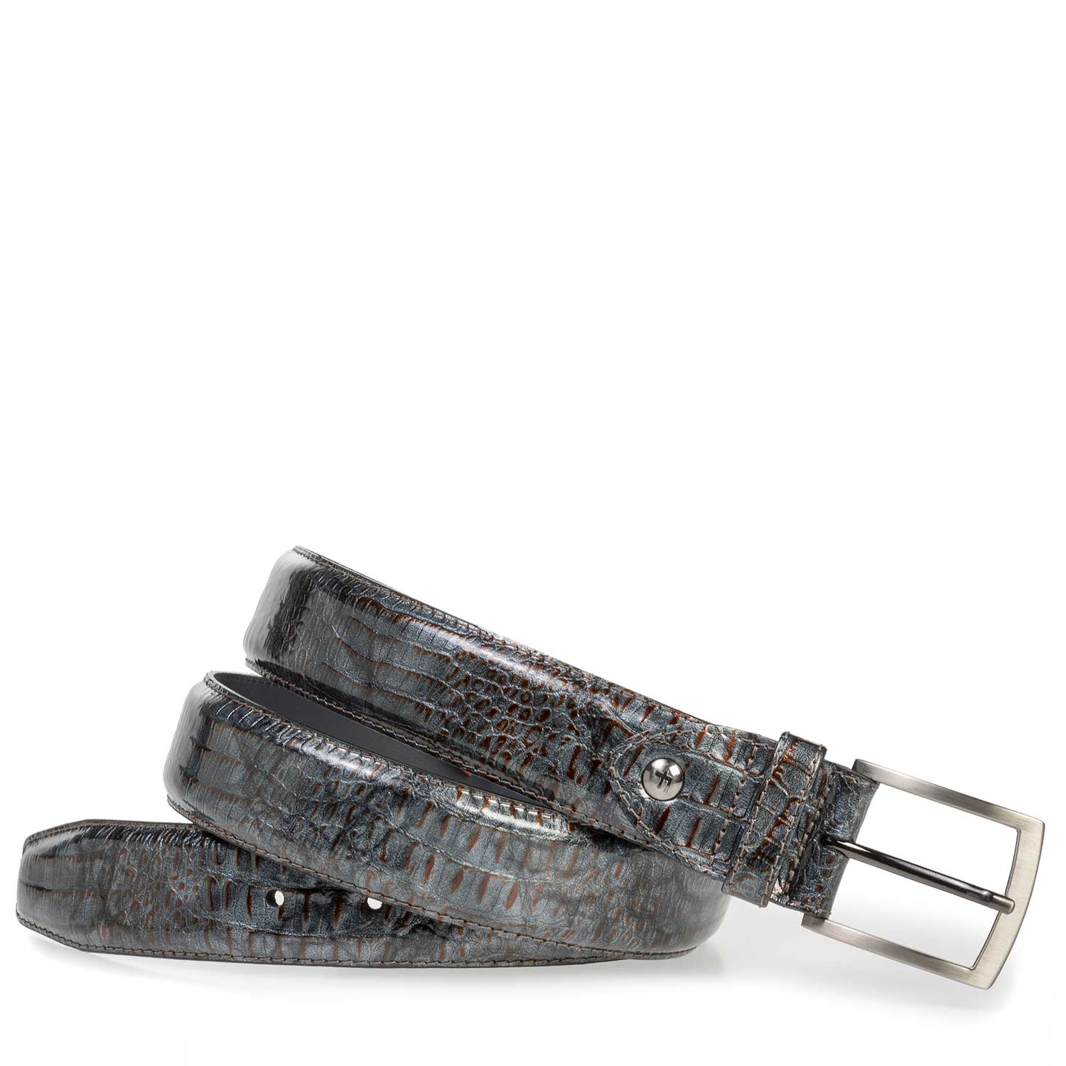 75201/16 - Grey patent leather belt with croco print