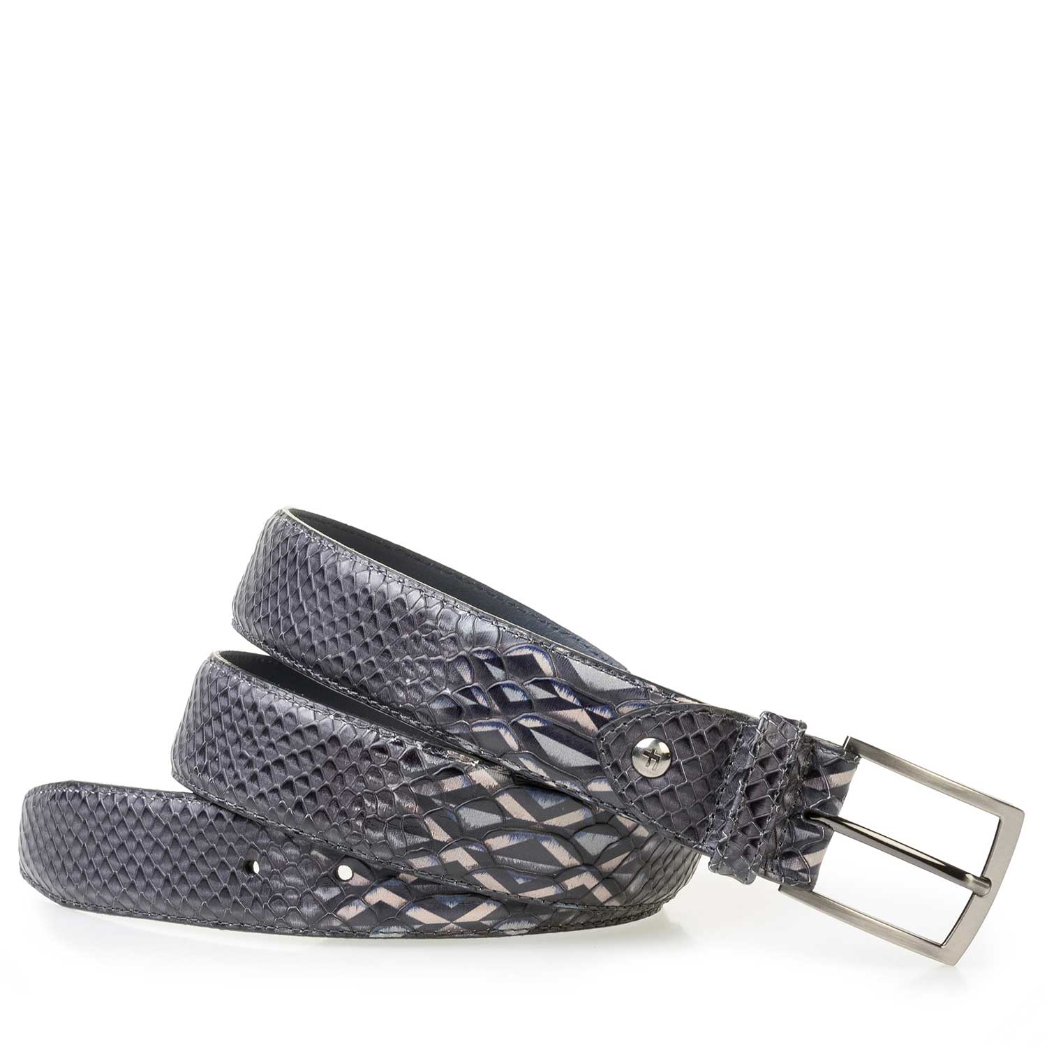 75200/28 - Grey calf leather belt with a pattern