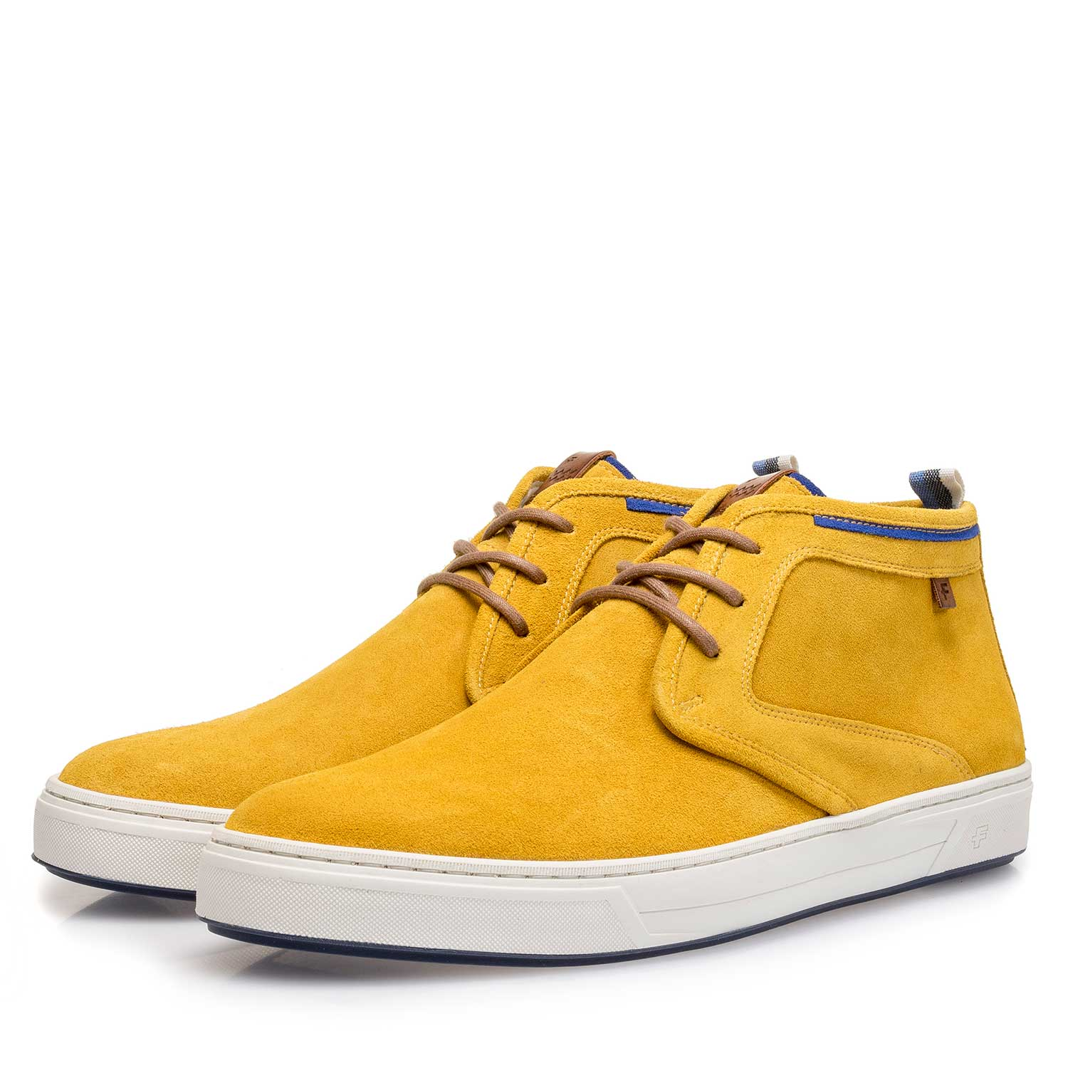 10466/04 - Mustard yellow washed suede leather lace shoe