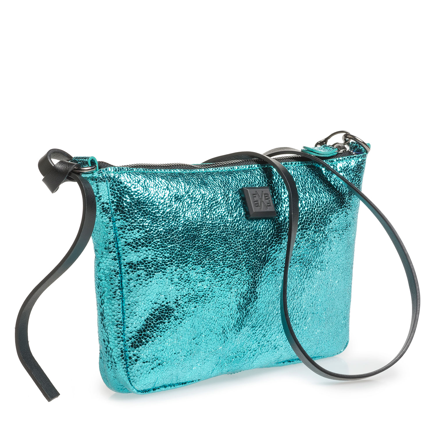 89019/10 - Light blue leather bag with metallic print
