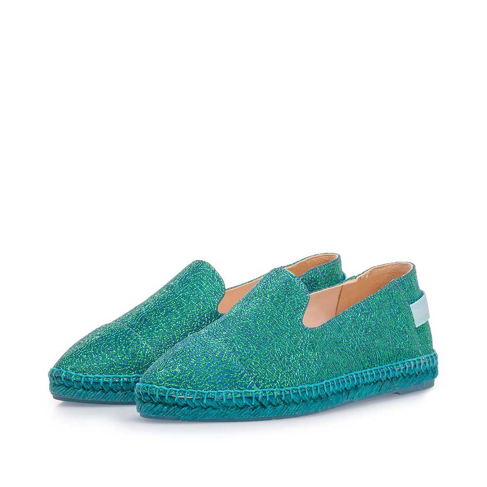 85420/09 - Blue leather espadrilles with metallic print
