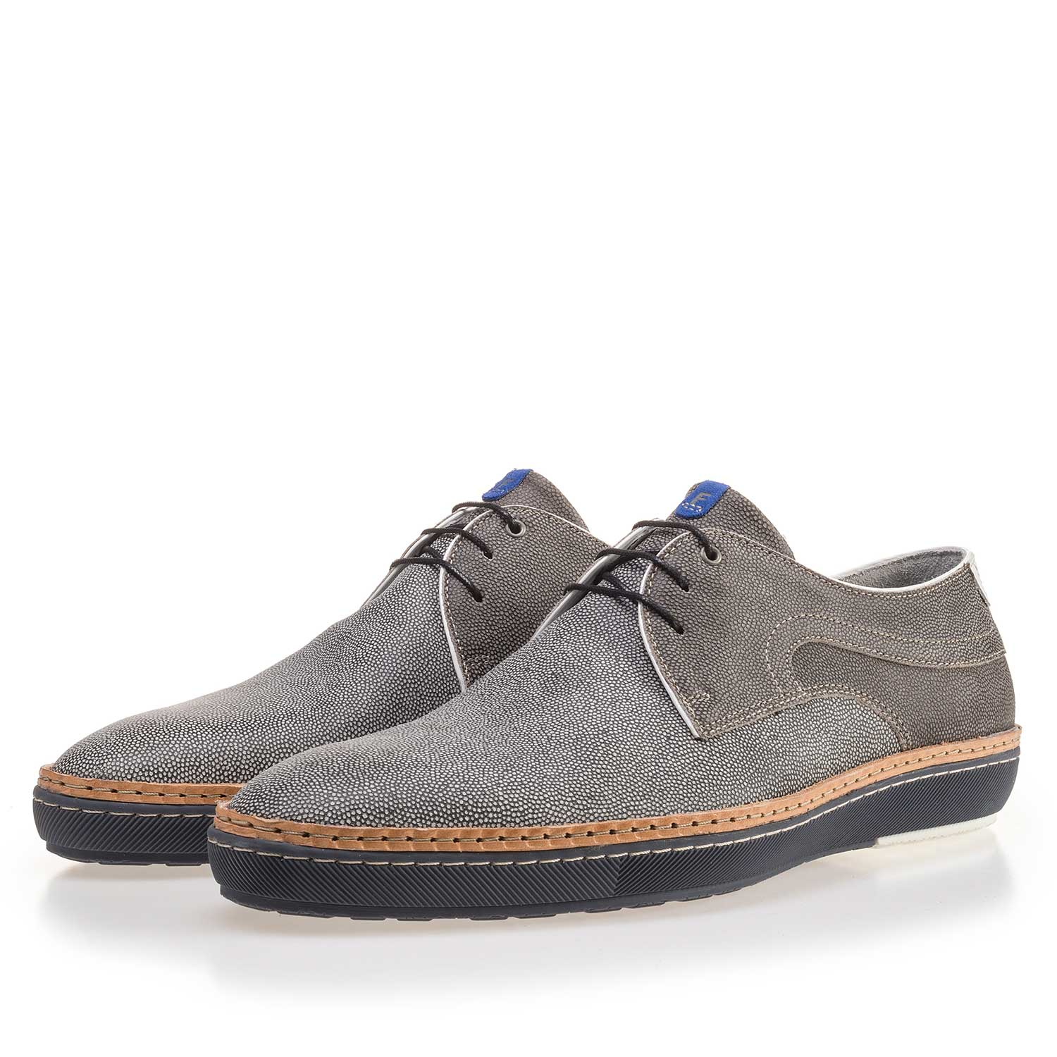 14020/01 - Grey patterned suede leather lace shoe