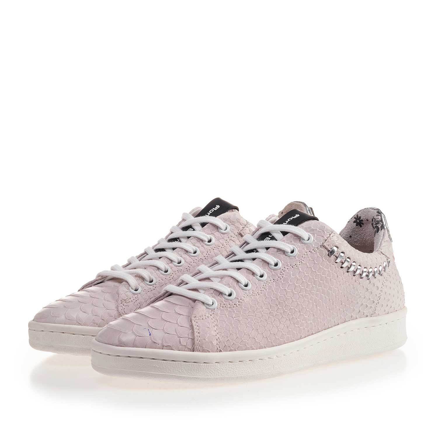 85251/03 - Light pink nubuck leather sneaker with snake print