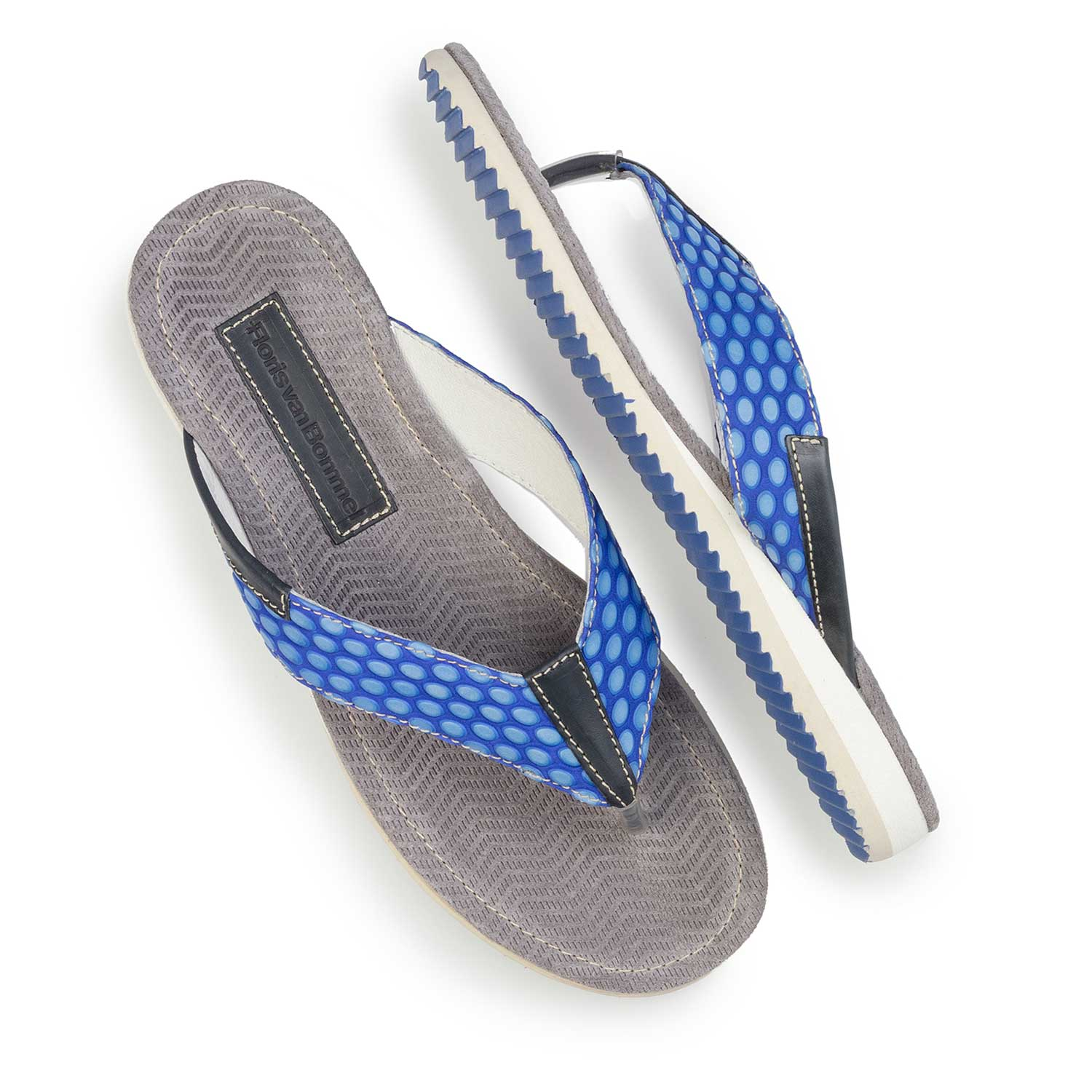 20022/22 - Cobalt clue, printed leather thong slipper