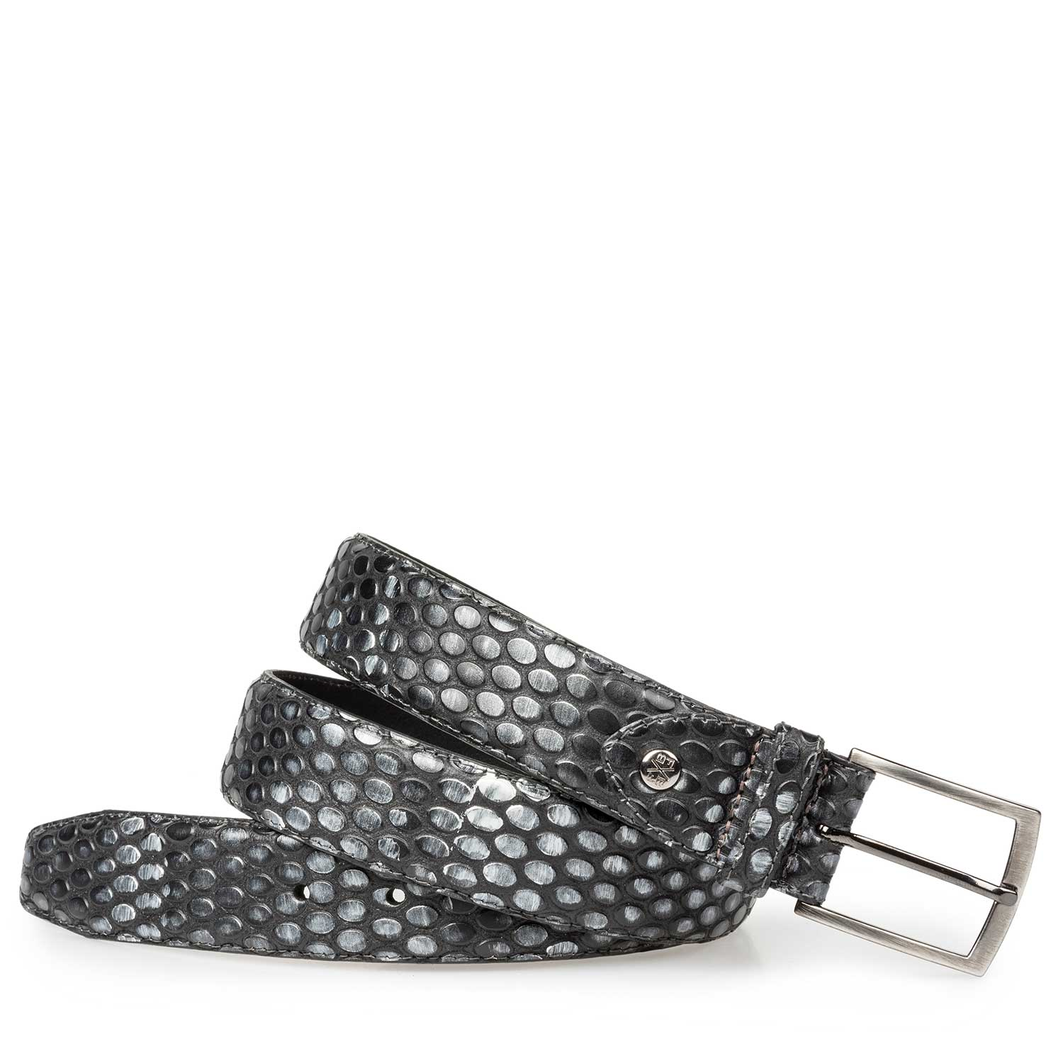 75190/13 - Silver-coloured leather belt with coffee bean print